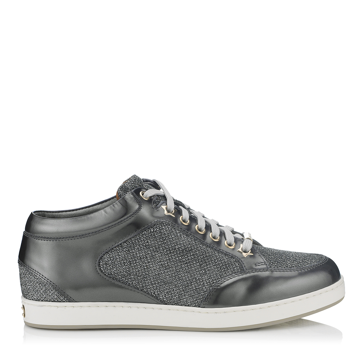 MIAMI Anthracite Glitter and Mirror Leather Sneakers