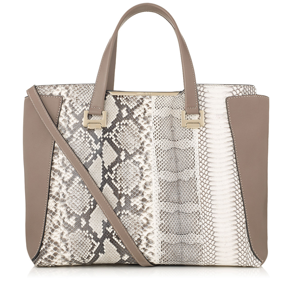 ALFIE L Natural Mix Striped Exotic Patchwork and Soft Smooth Leather Tote Bag