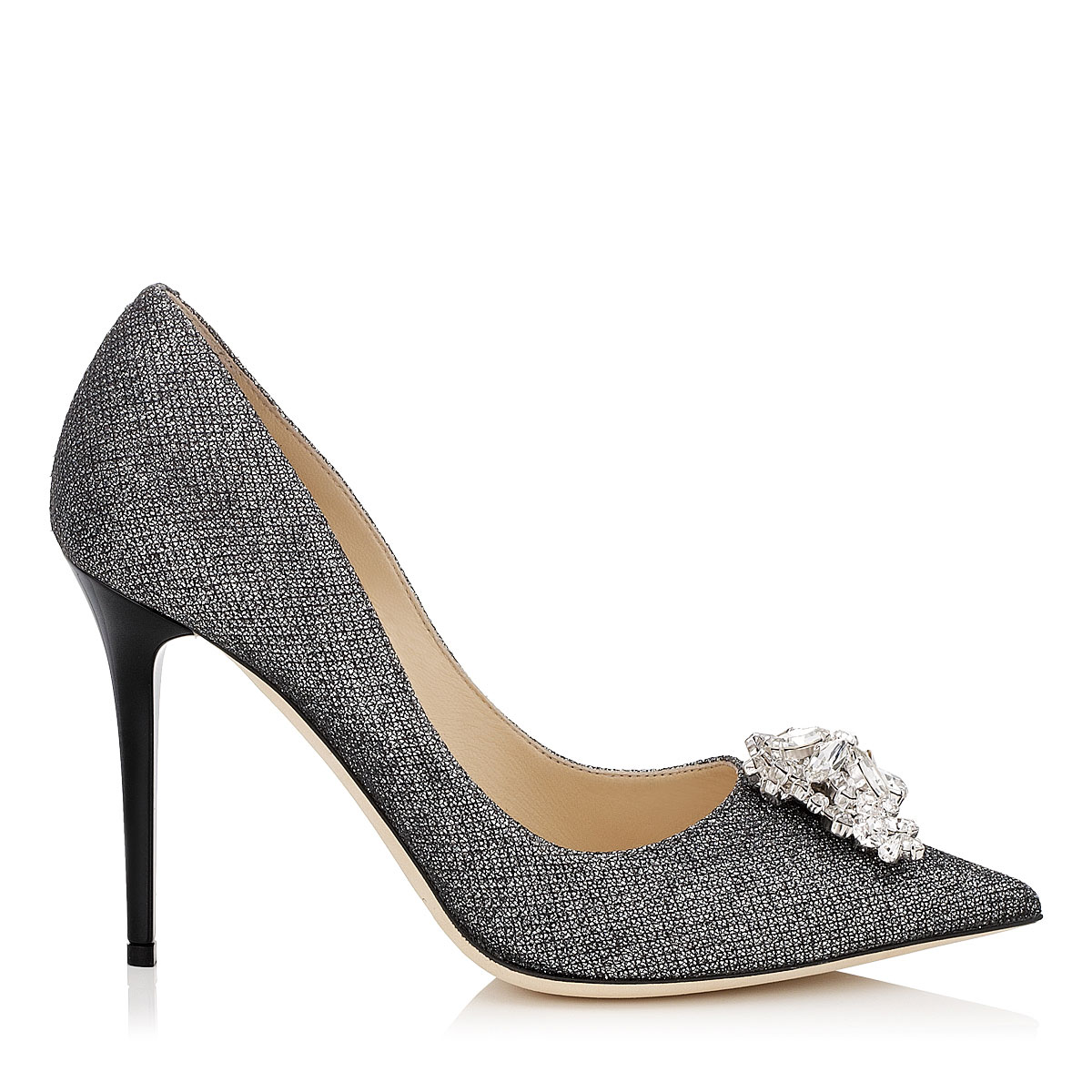 MANDA Anthracite Lamé Glitter Pumps with Crystal Detail
