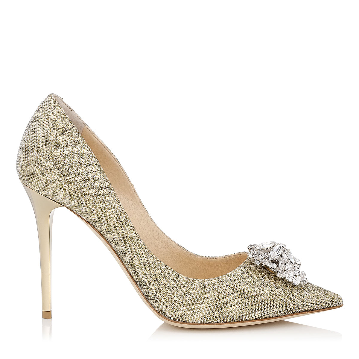 MANDA Gold Lamé Glitter Pumps with Crystal Detail