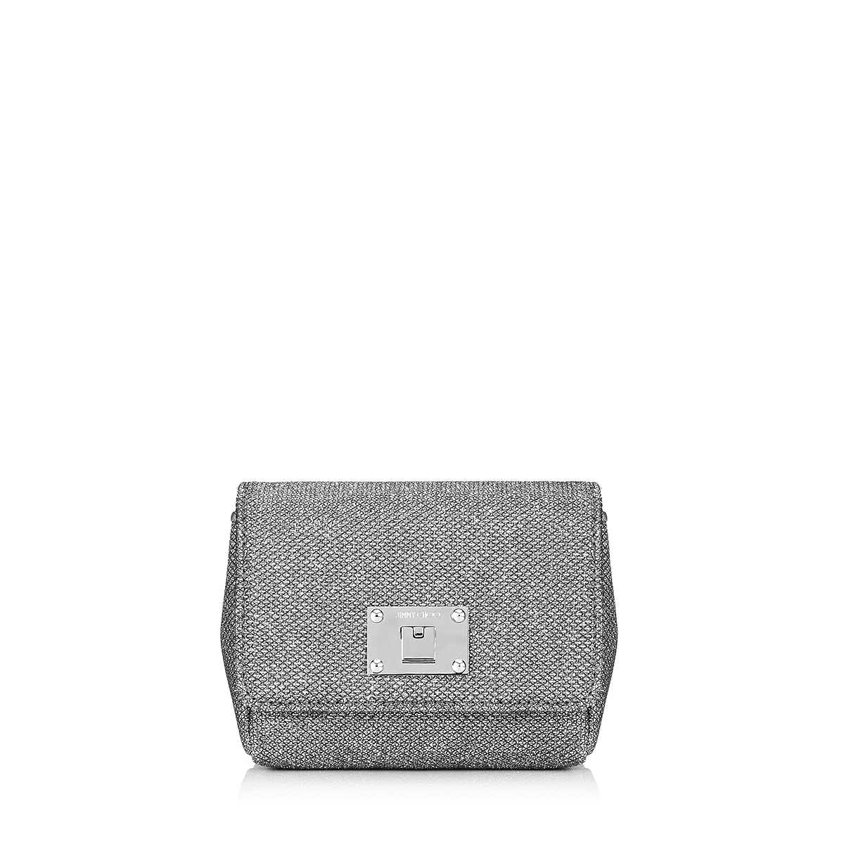 RUBY Anthracite Lamé Glitter Fabric Clutch bag with Chain Shoulder Strap