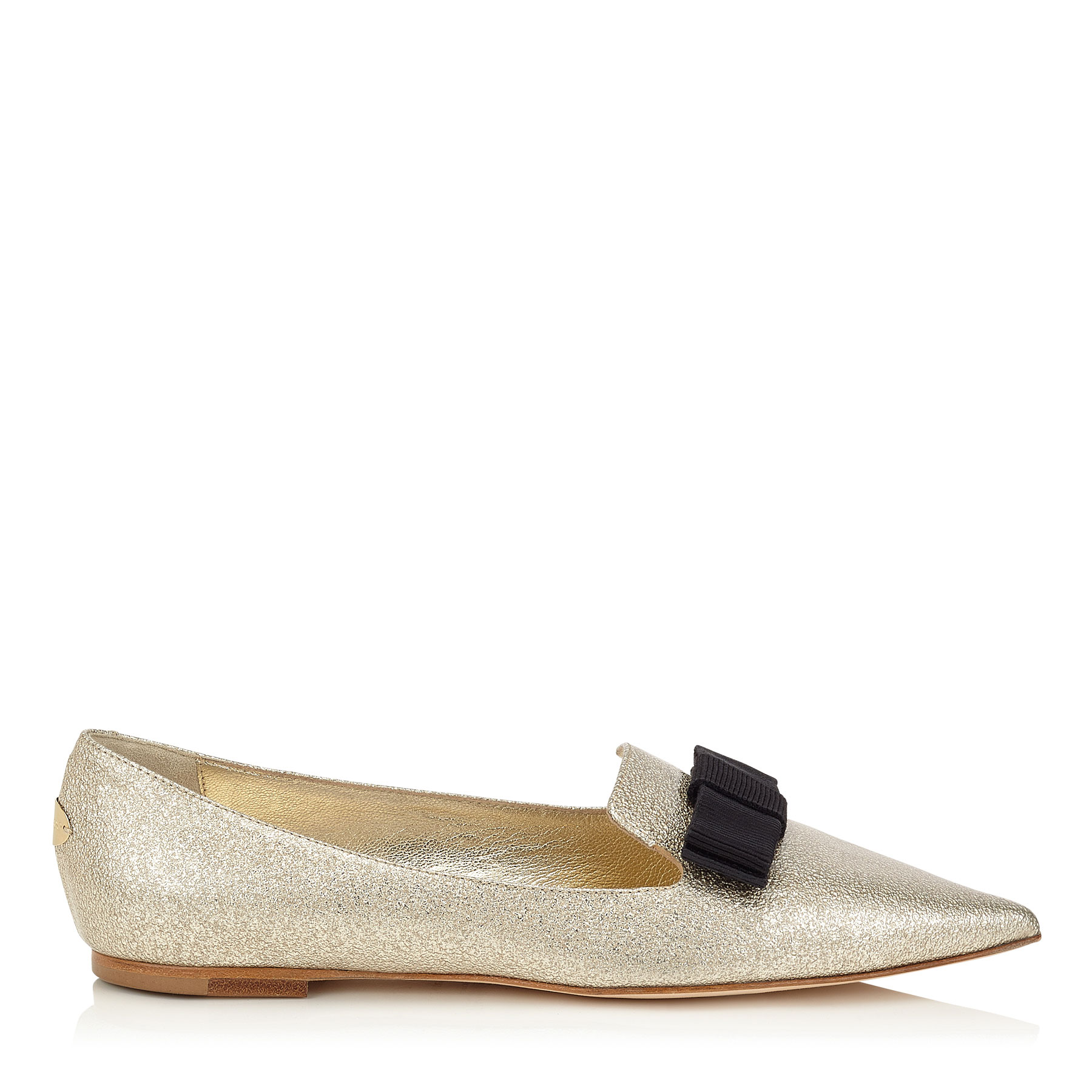 GALA Nude Textured Metallic Patent Pointy Toe Flats with Grosgrain Bow