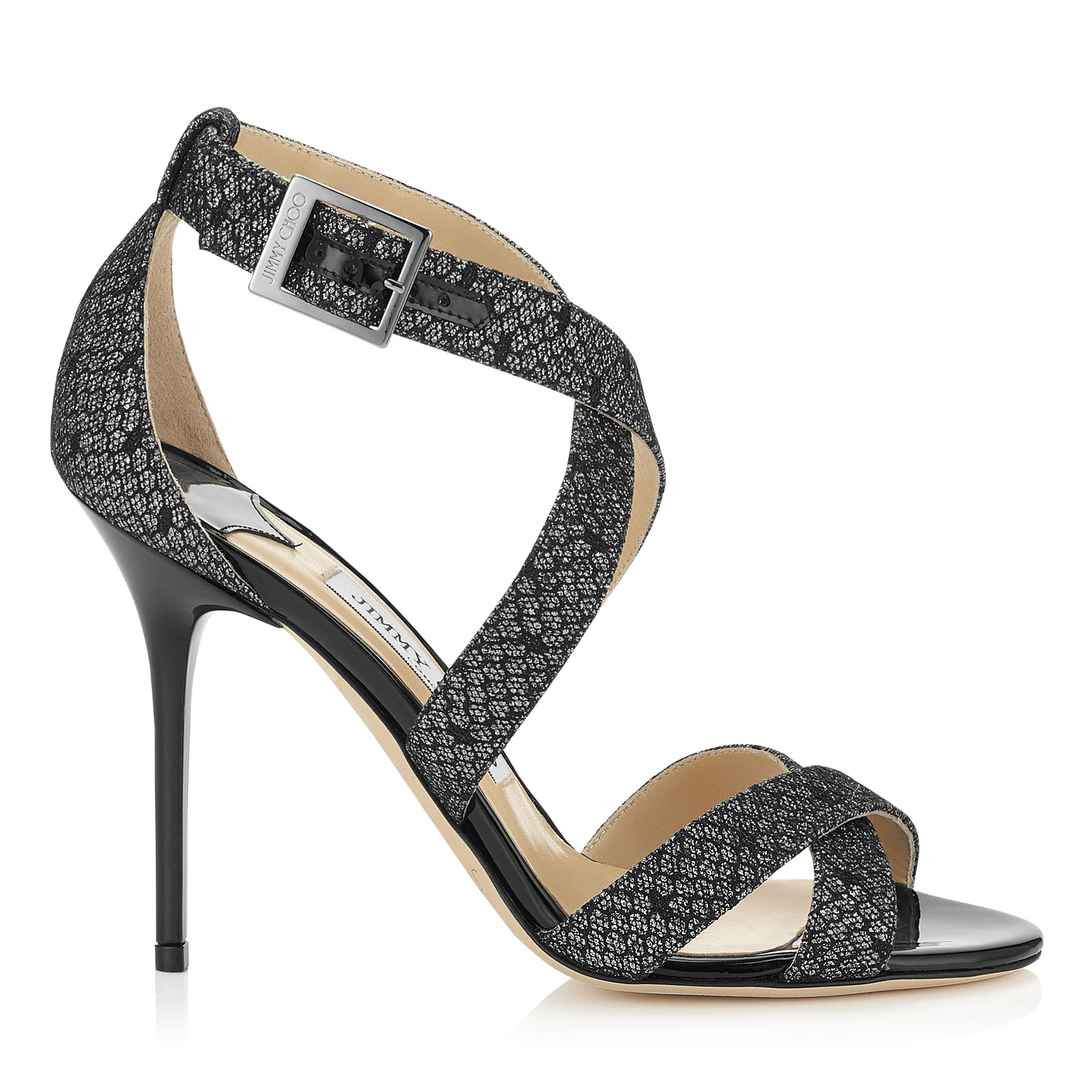 LOTTIE Black Dotted Lace on Anthracite Fine Glitter and Patent Sandals