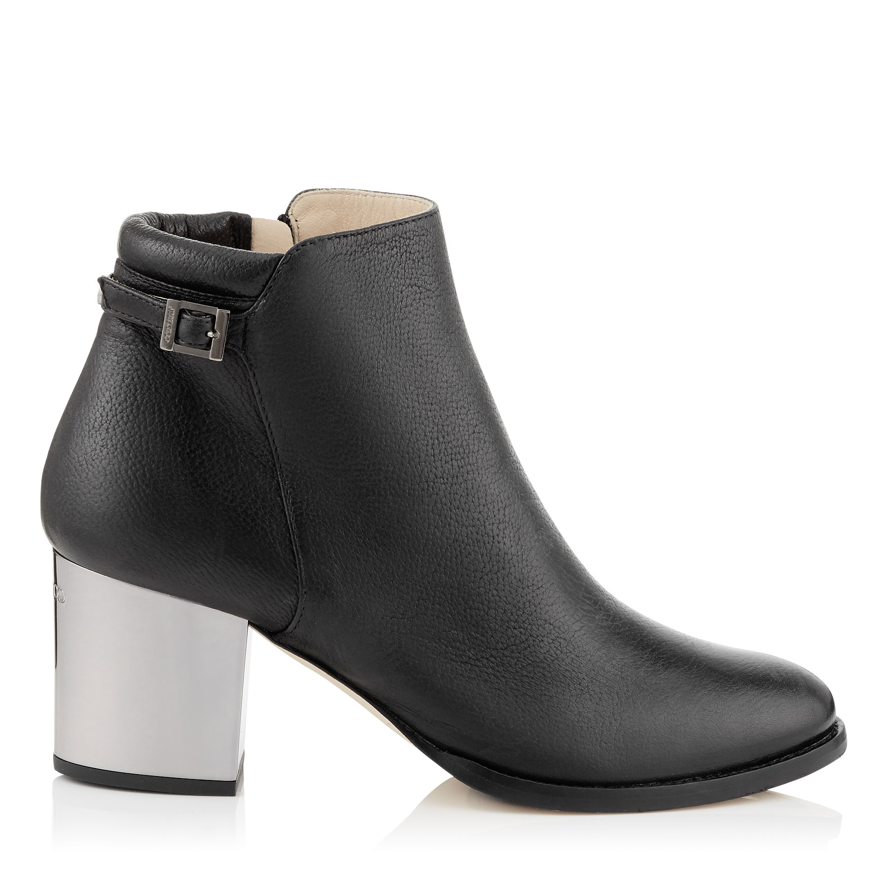 METHOD 65 Black Soft Grainy Leather Ankle Boots with Metallic Heel