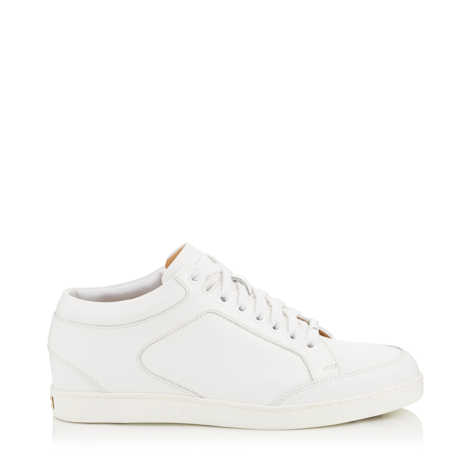 MIAMI White Calf Leather Low Top Trainers