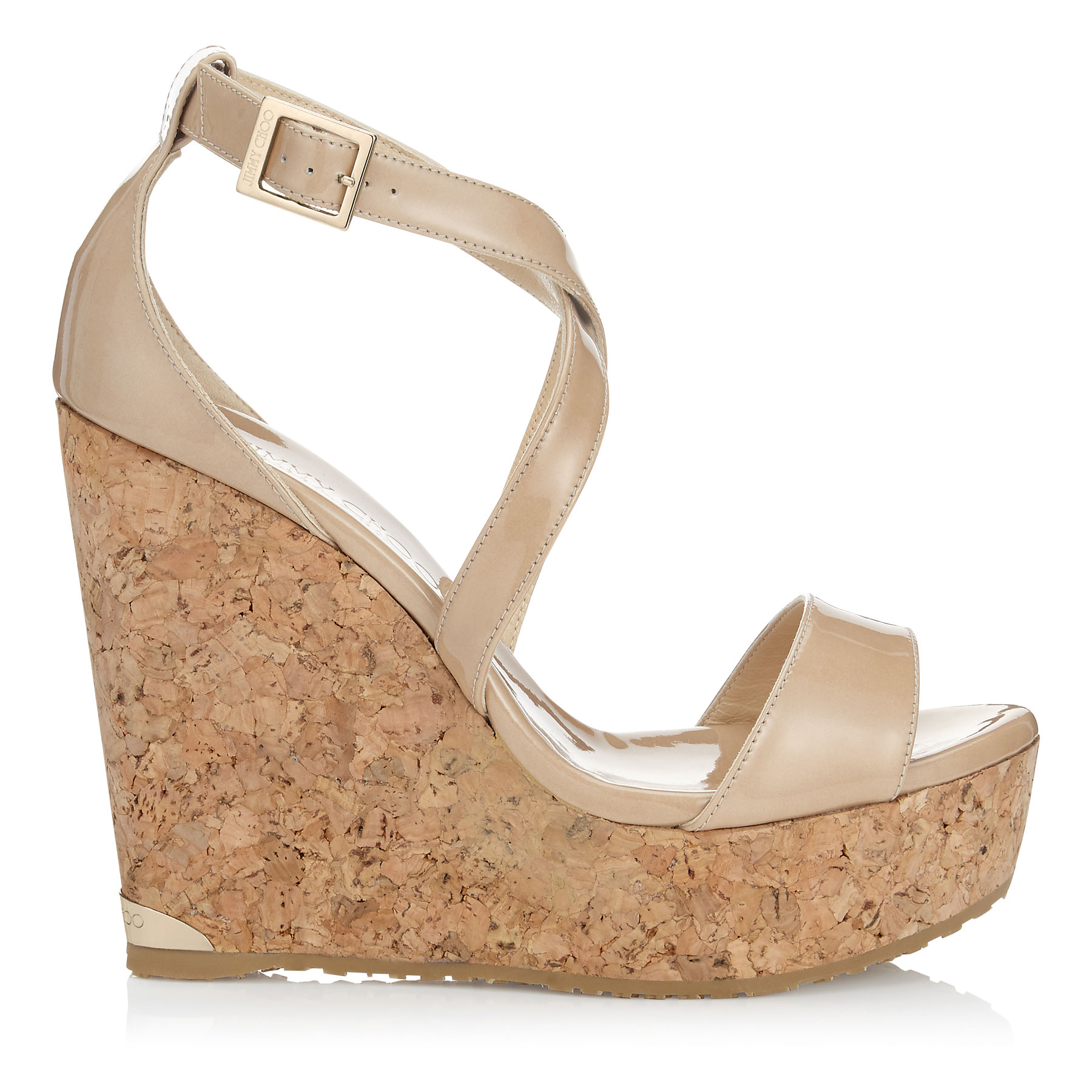 PORTIA 120 Nude Patent Leather Cork Wedges
