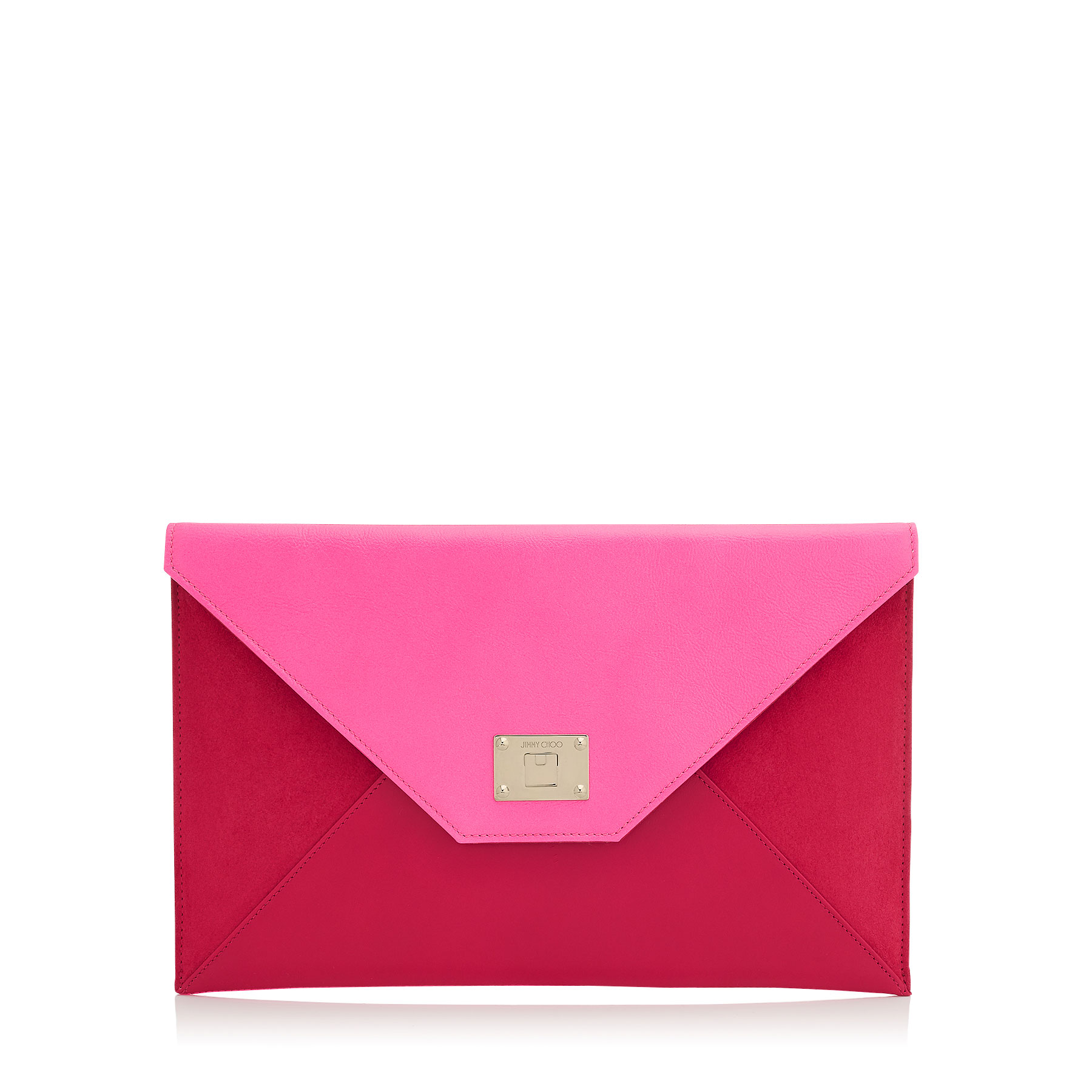 ROSETTA Raspberry Fluorescent Leather and Suede Clutch Bag