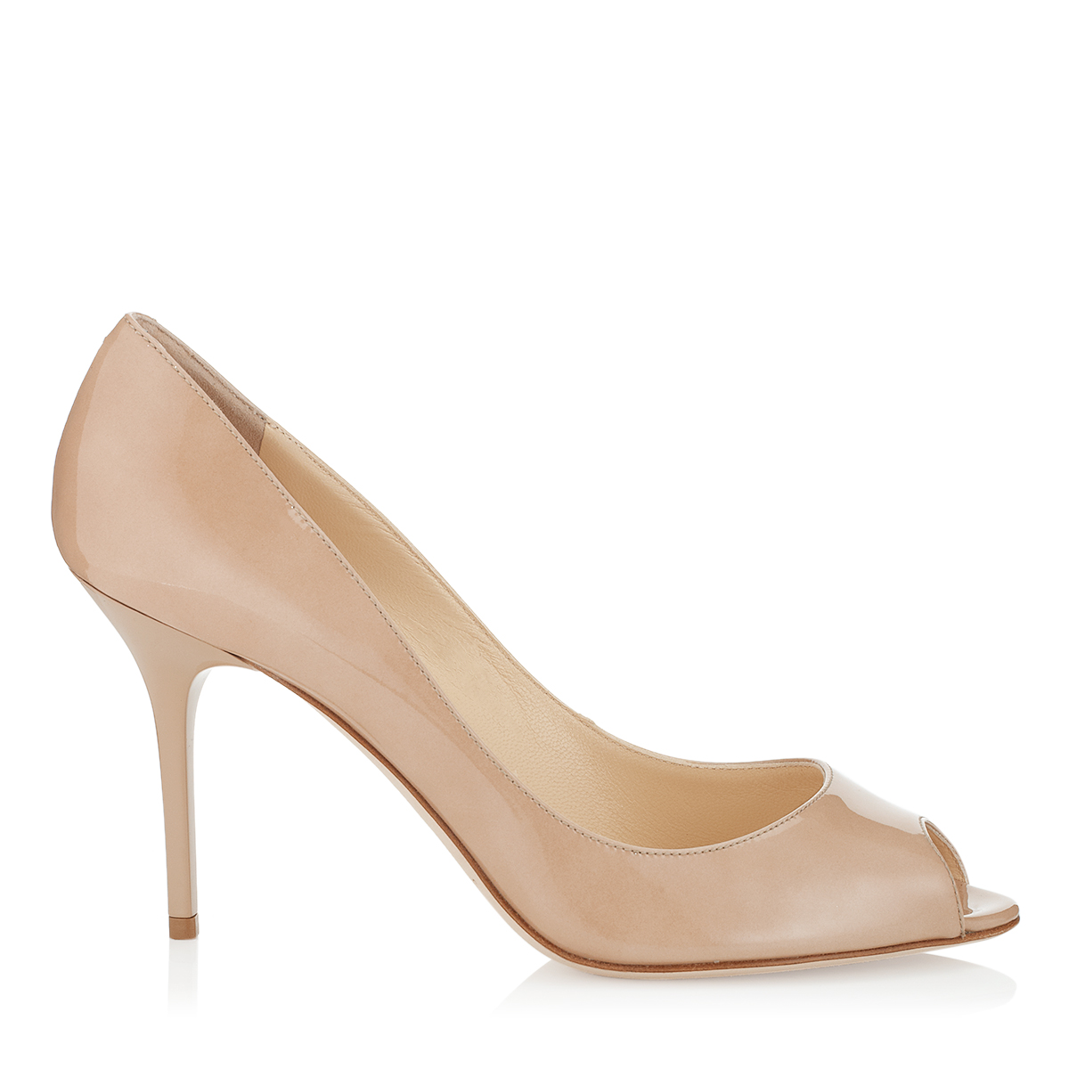 EVELYN Nude Patent Peep Toe Pumps
