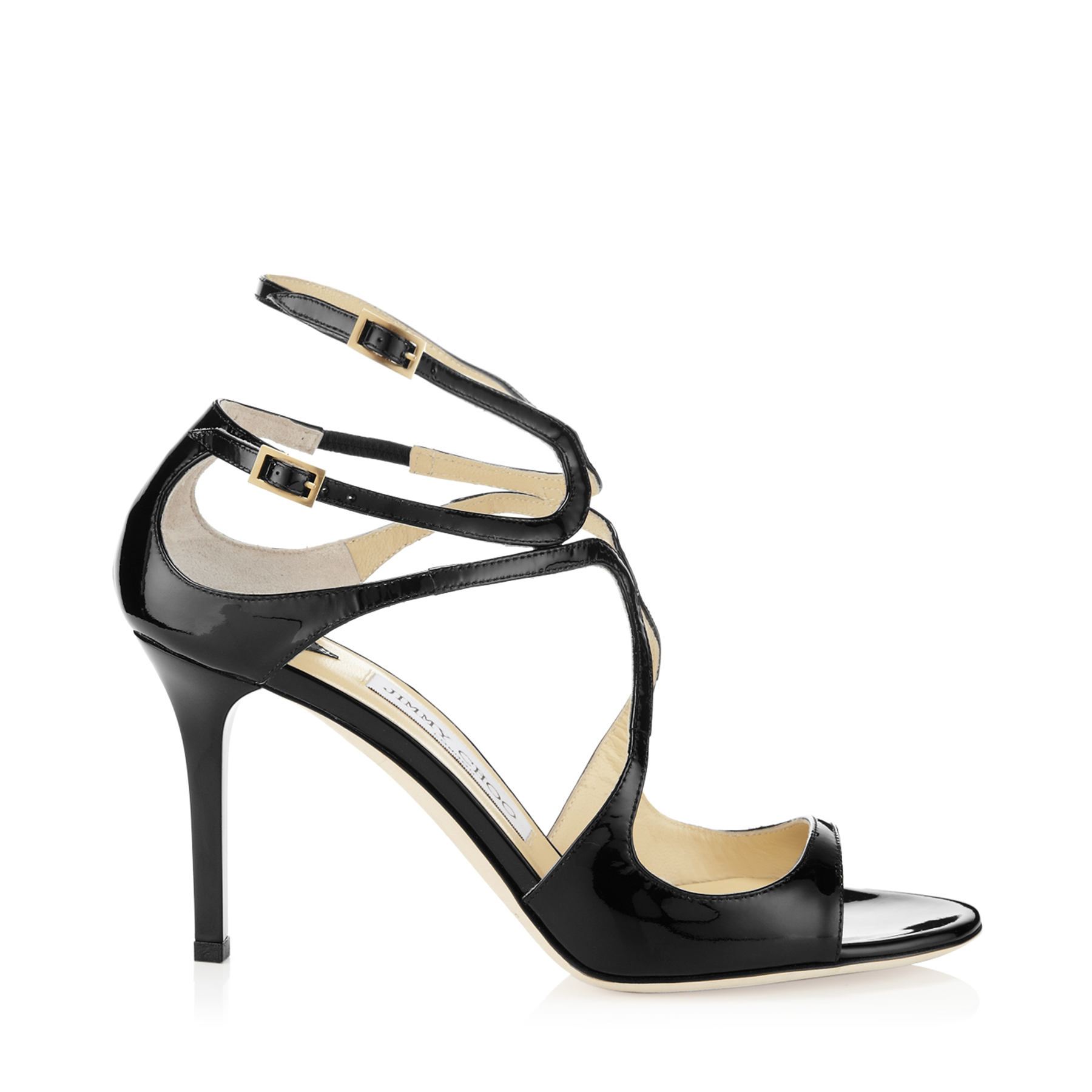 jimmy choo female ivette black patent leather strappy sandals