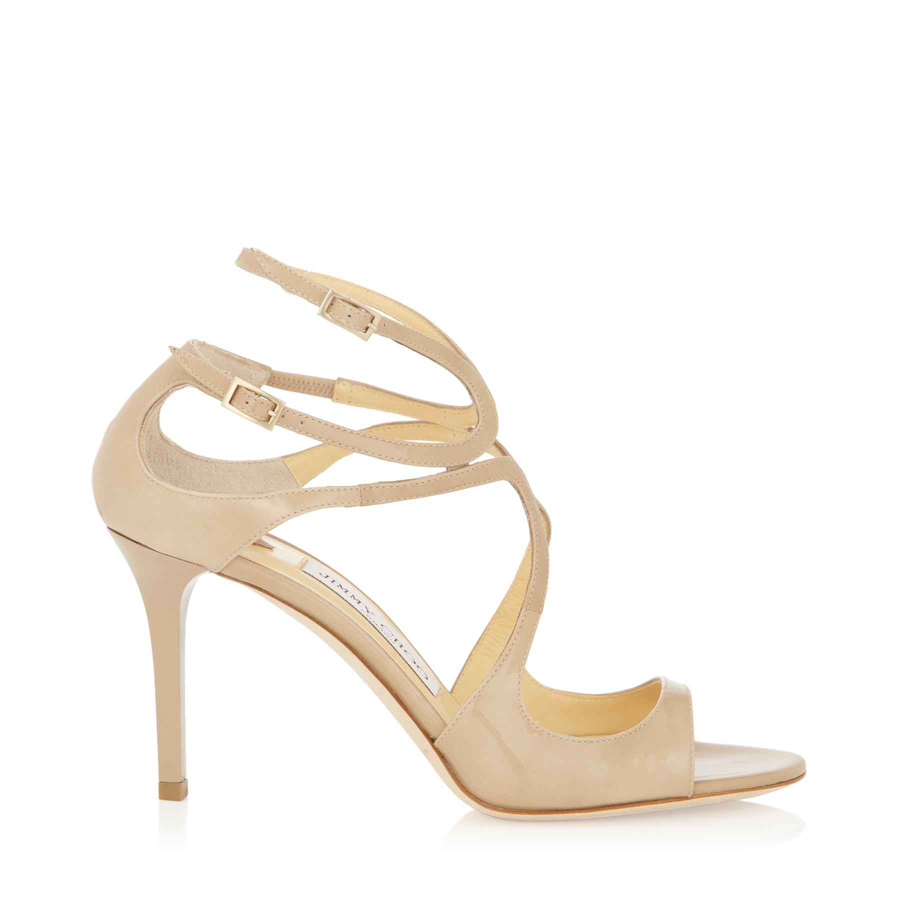 jimmy choo female ivette nude patent leather strappy sandals