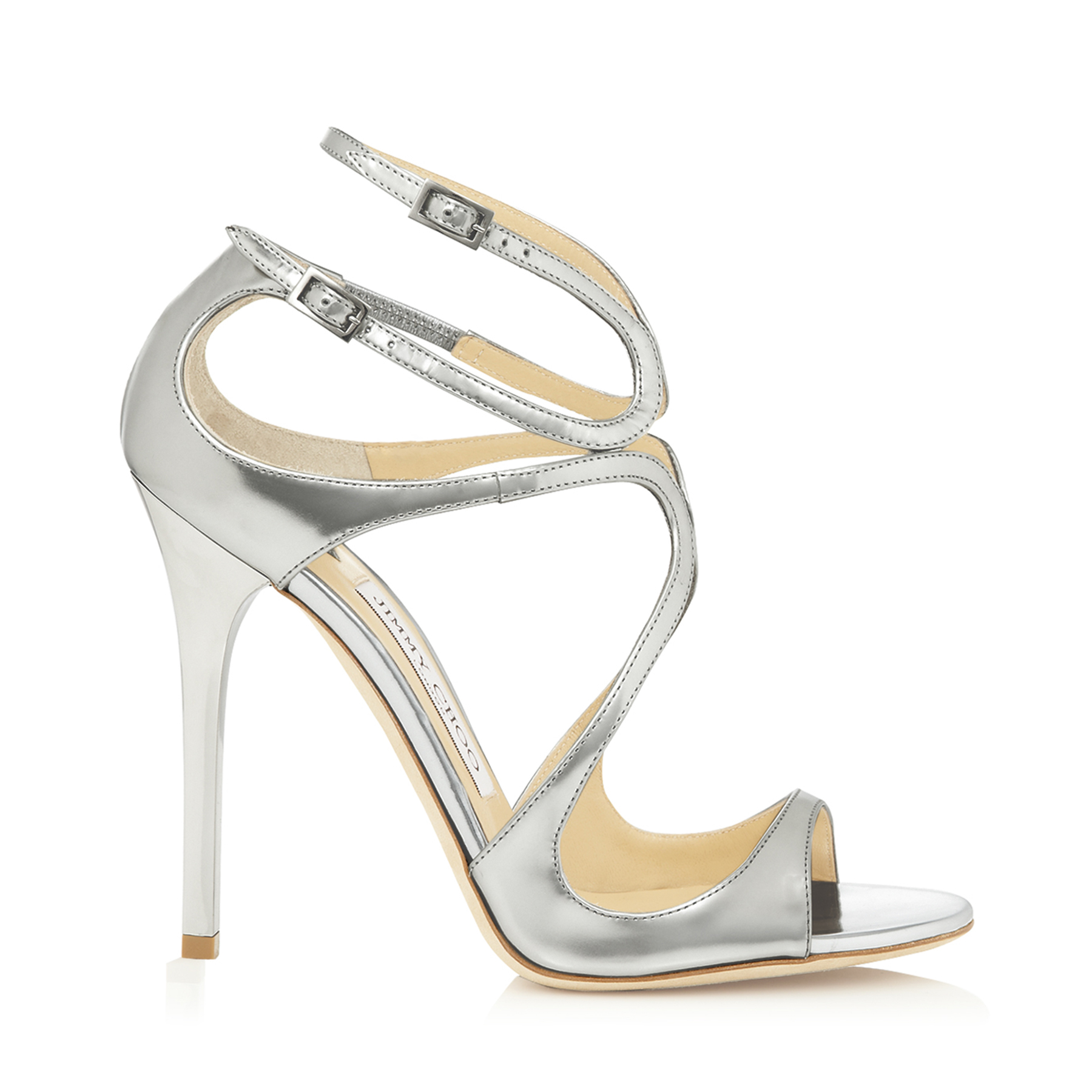 LANCE Silver Mirror Leather Sandals