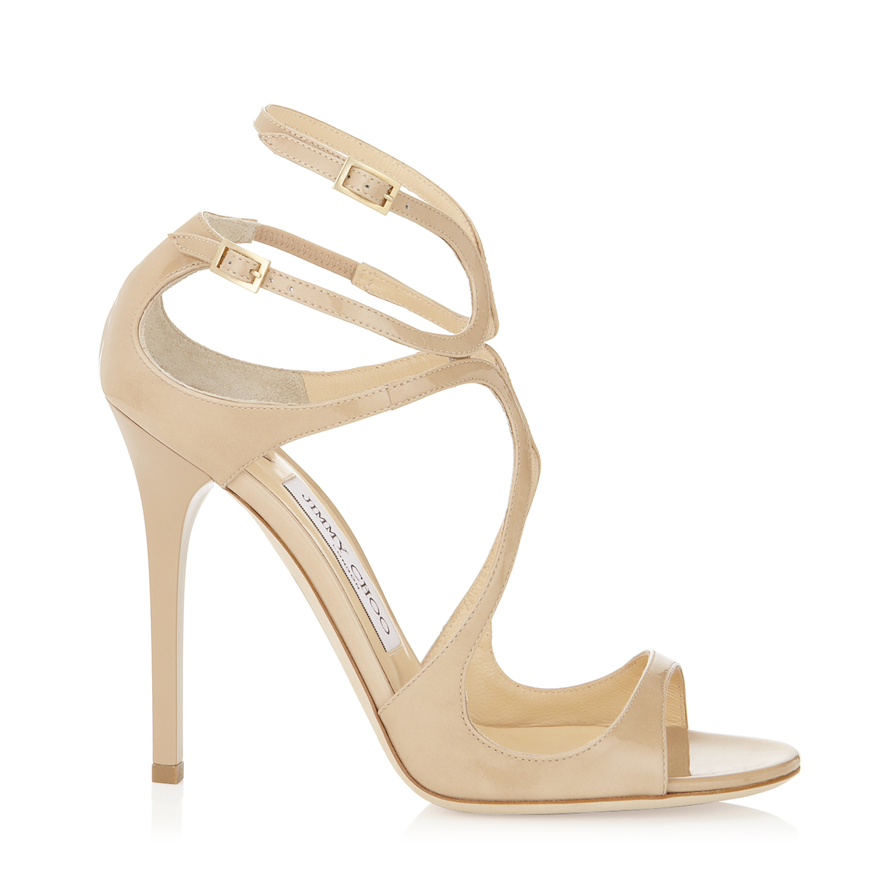 jimmy choo female lance nude patent leather sandals