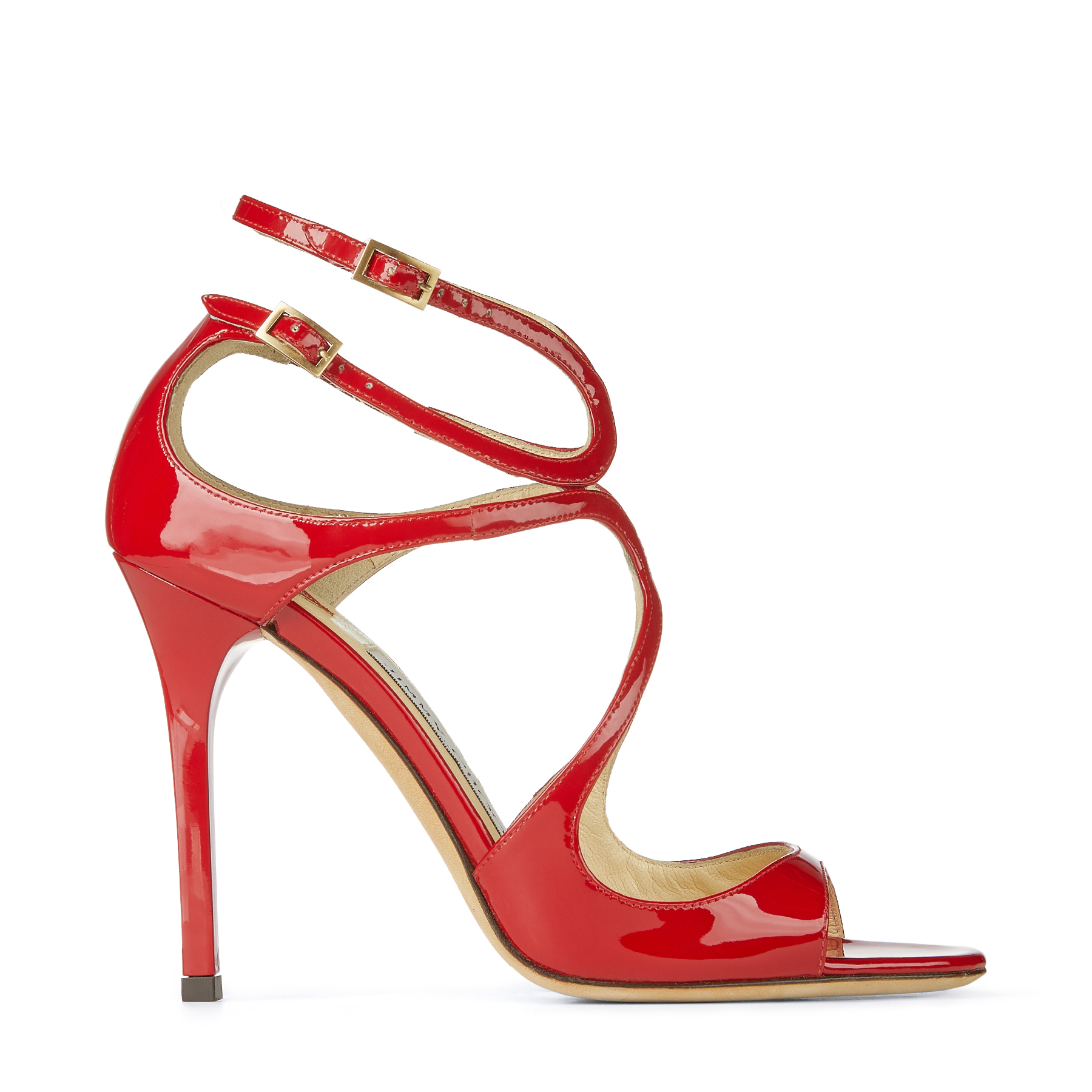 LANG Red Patent Leather Strappy Sandals