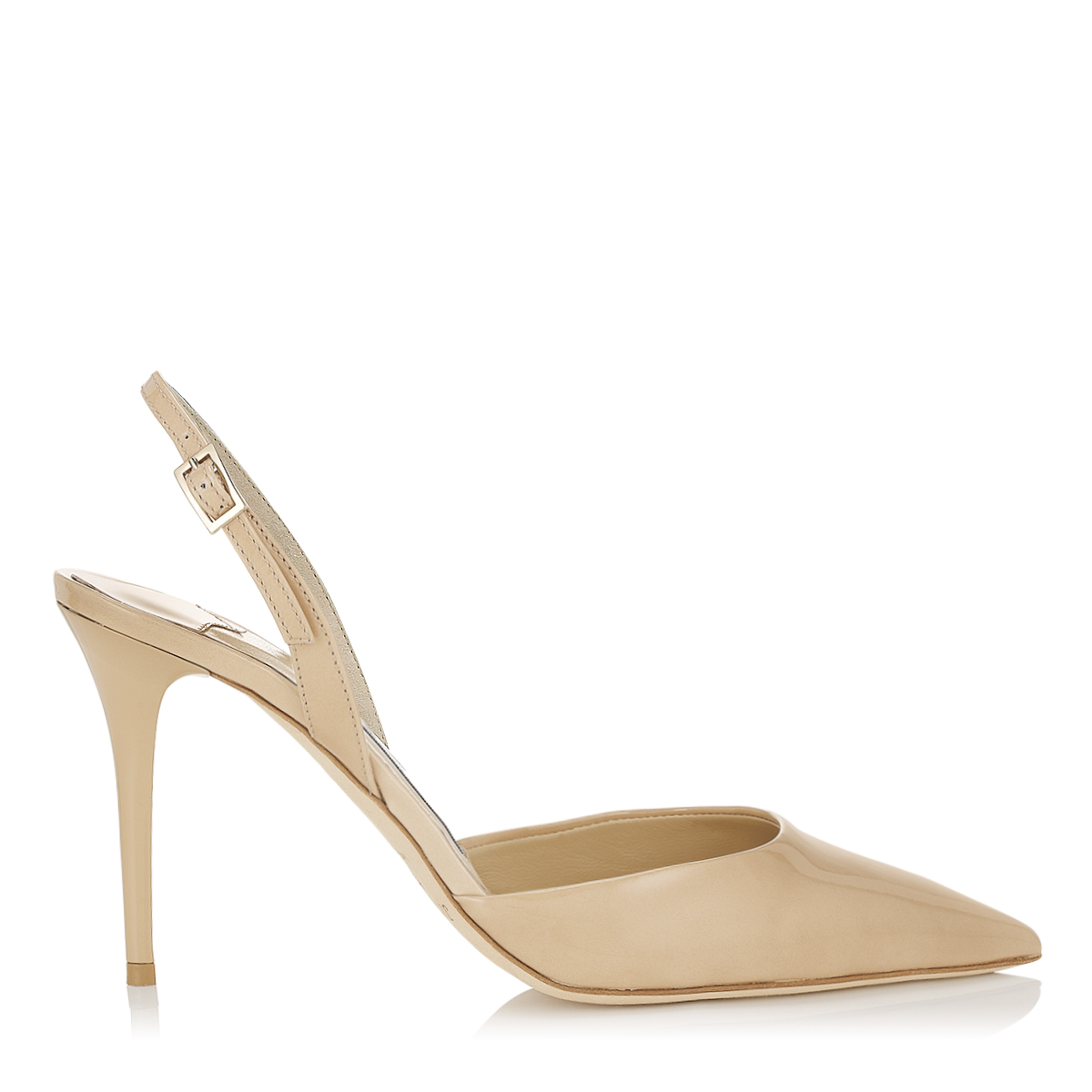 TILLY Nude Patent Leather Sling Back Pumps
