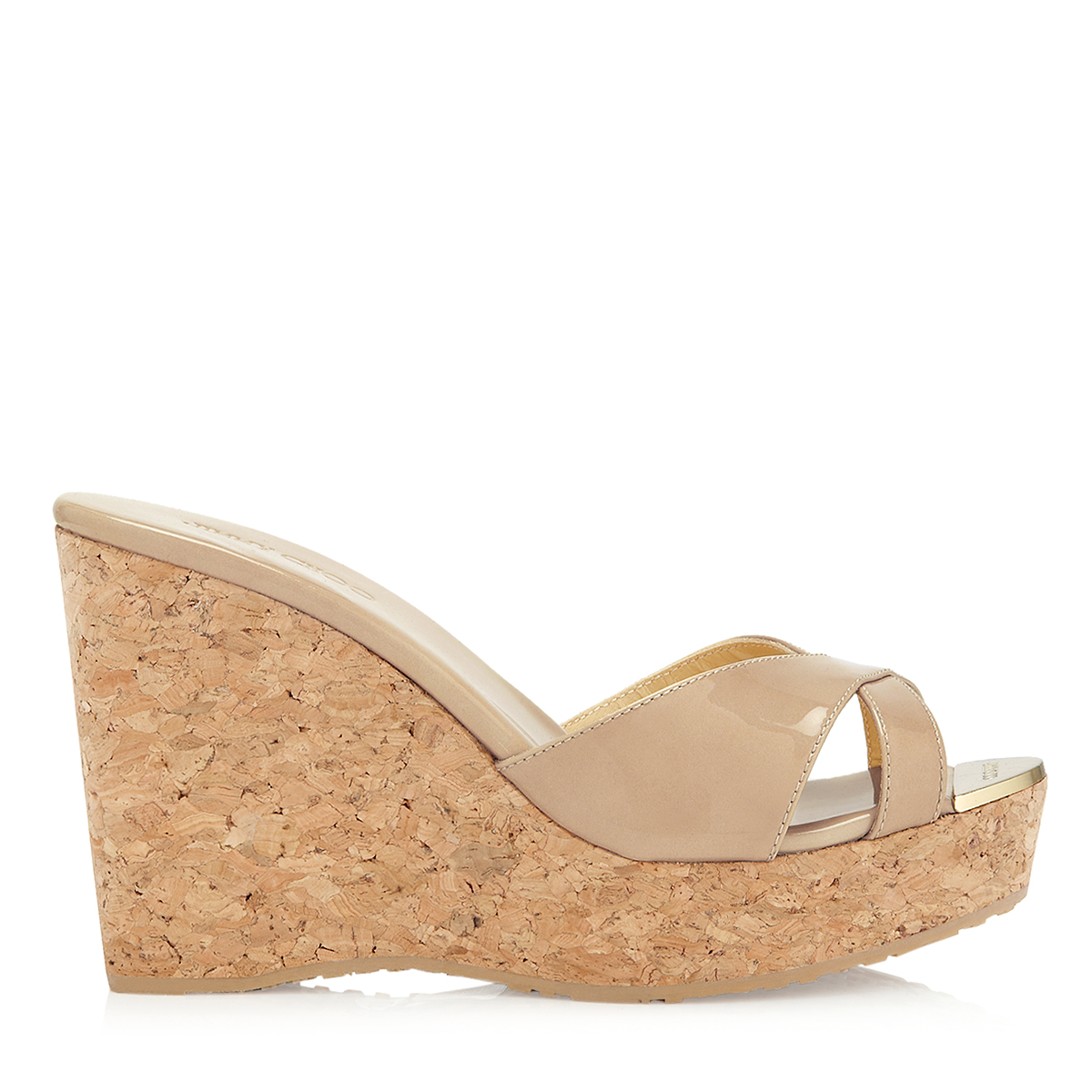 PANDORA Nude Patent Leather Wedge Sandals