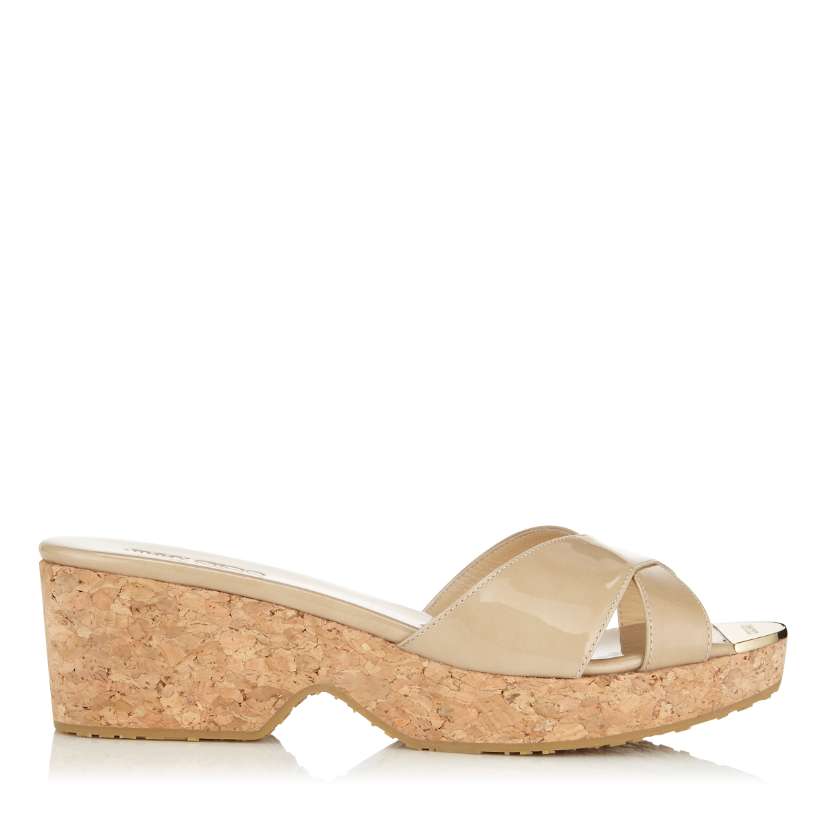 jimmy choo female panna nude patent leather wedge sandals