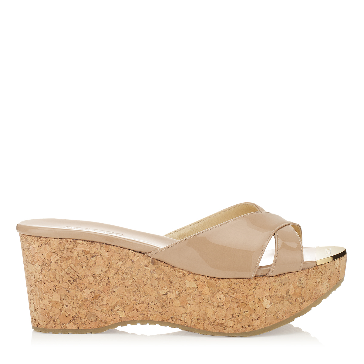 jimmy choo female prima nude patent leather wedge sandals