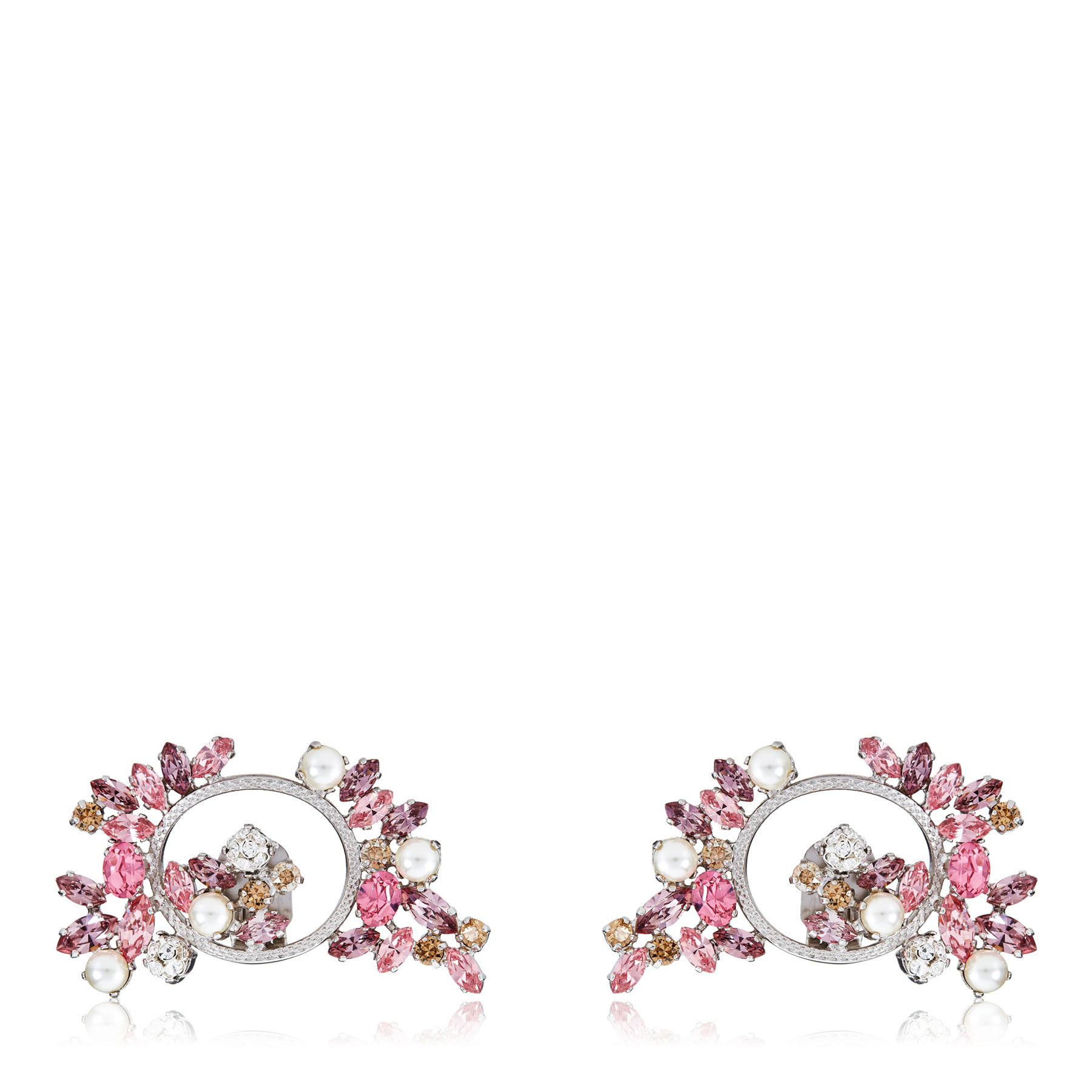 ADELLE Camellia Mix Metal with Crystals and Pearls Shoe Clips