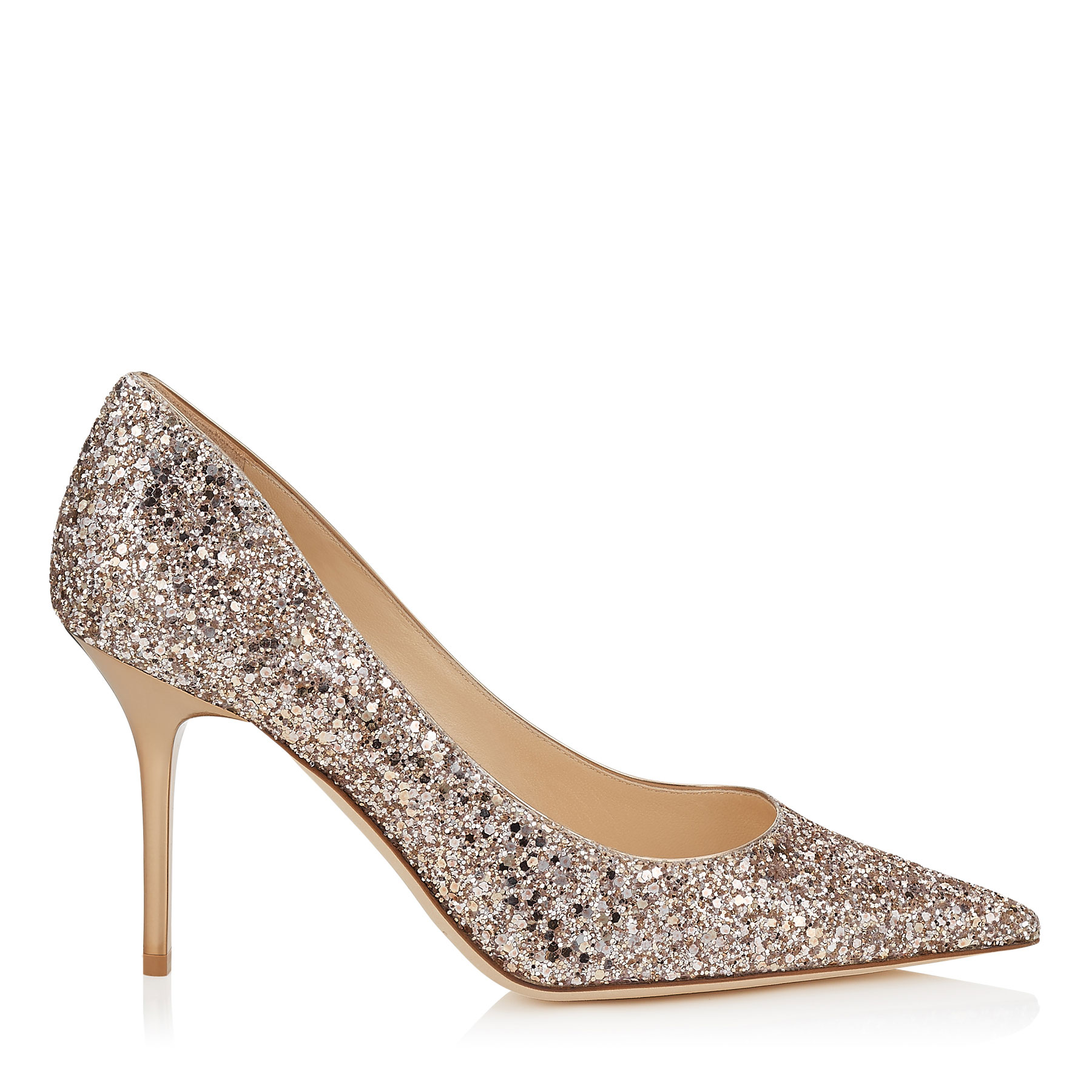 AGNES Nude Shadow Coarse Glitter Fabric Pointy Toe Pumps