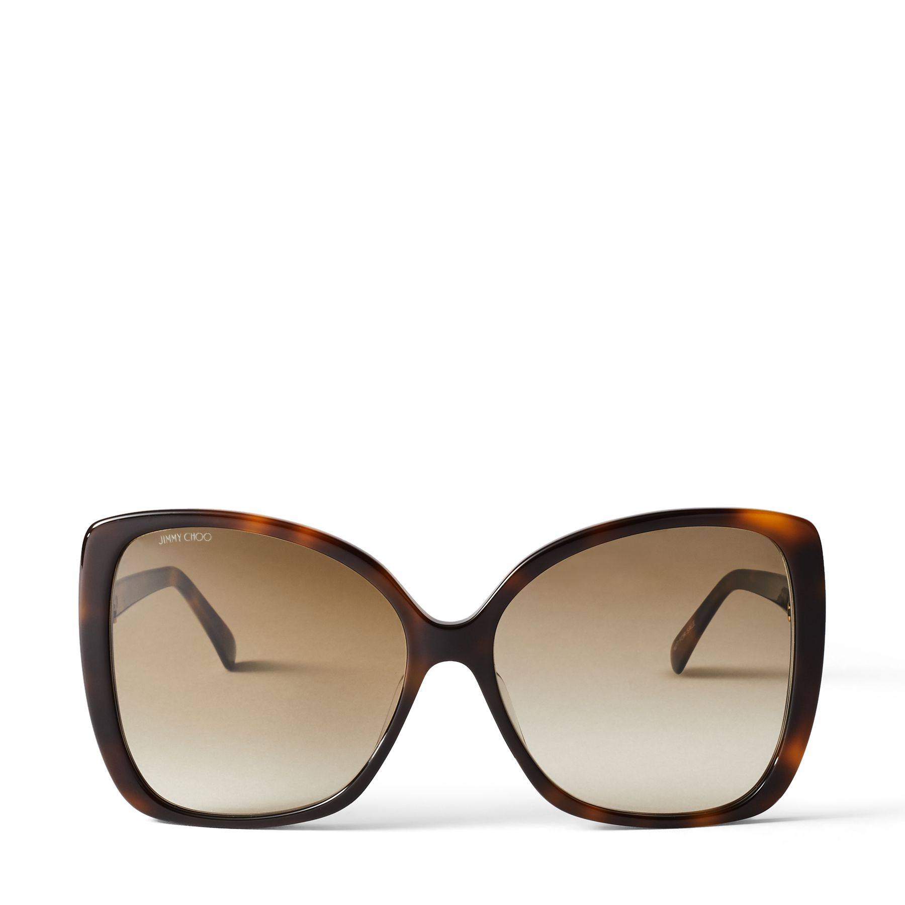 Featuring our gold Jimmy Choo logo, our BECKY sunglasses are designed with a dark brown havana front and brown shaded lenses. Made in Italy, this oversized pair is crafted from glossy acetate and finished with a gold insert embellished with baguette crystals by Swarovski on the temple. Wear yours everywhere.