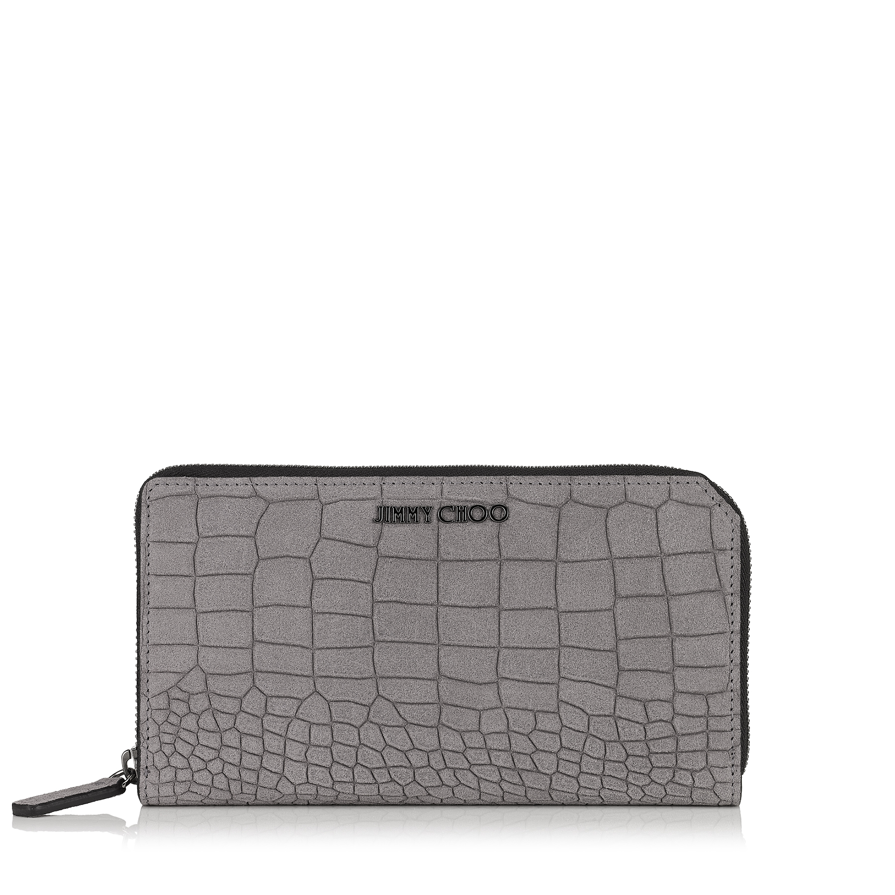 CARNABY Iron Grey Croc Printed Dry Suede Travel Wallet