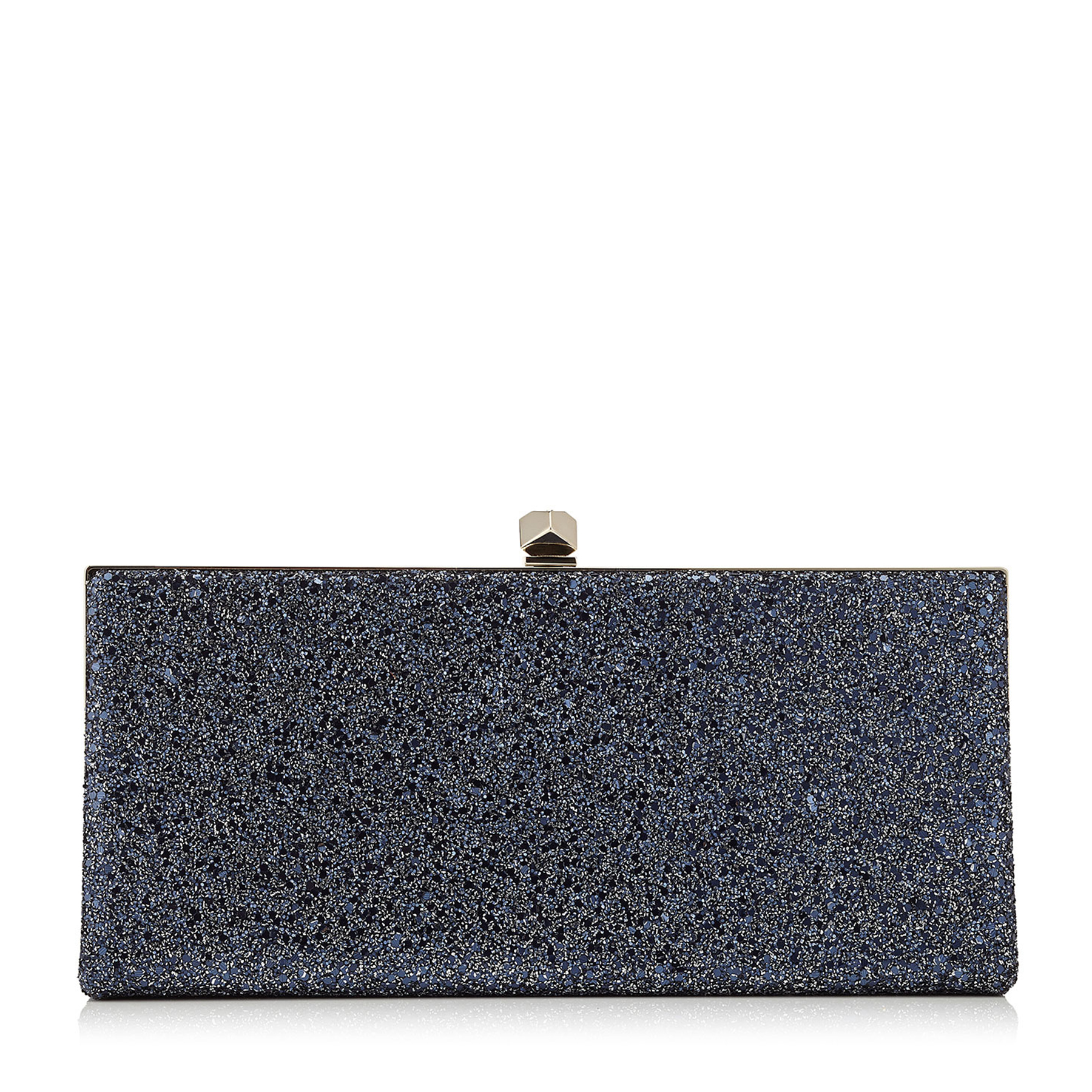CELESTE Navy Crackly Glitter Fabric Clutch Bag with Cube Clasp
