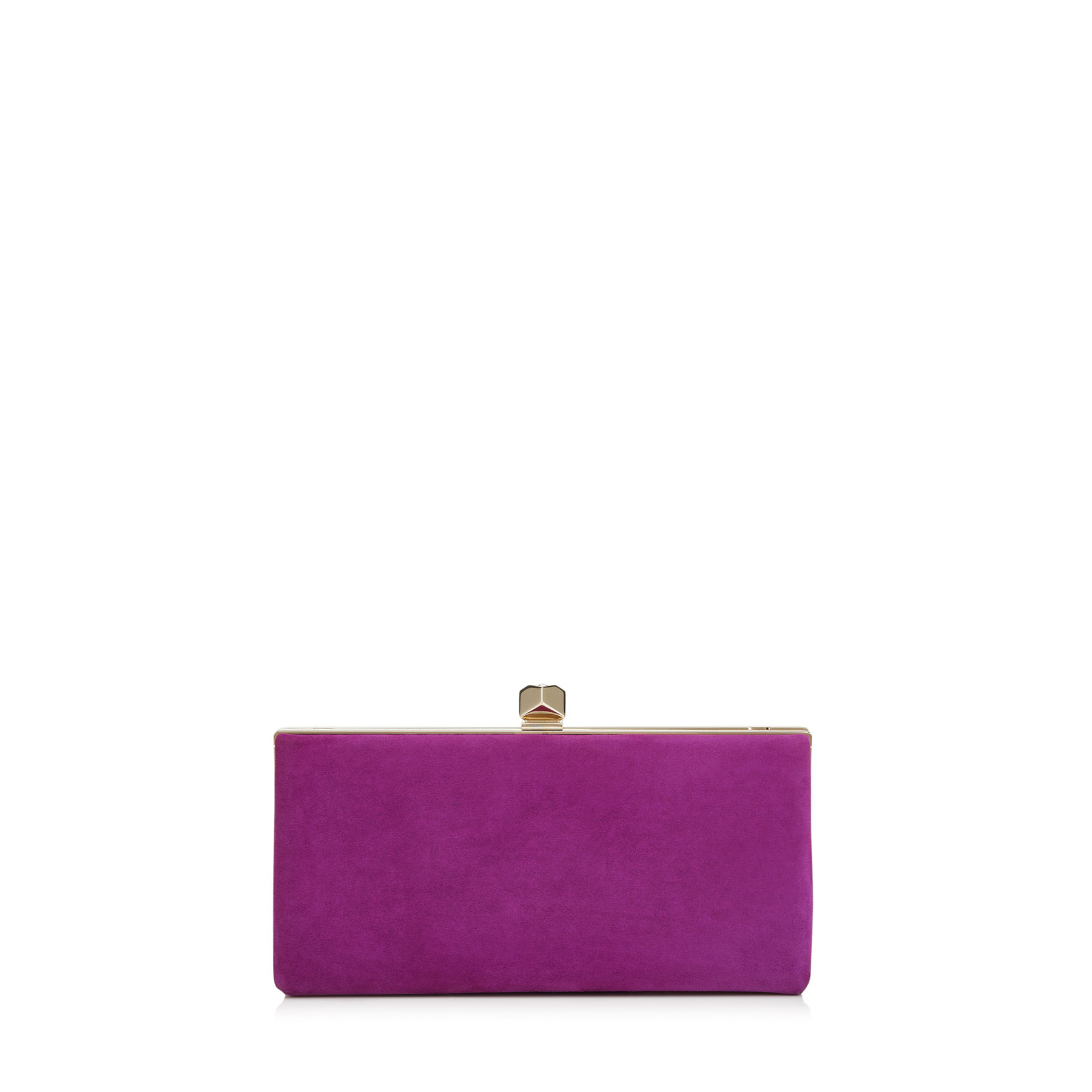 CELESTE/S Madeline Suede Clutch Bag with Cube Clasp