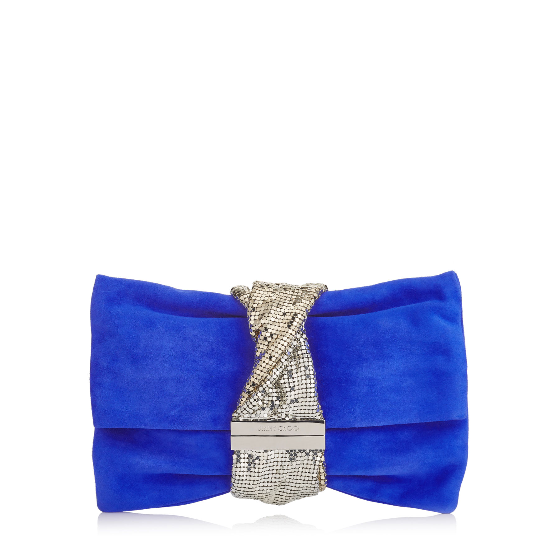 CHANDRA/M Cobalt Suede Clutch Bag with Chainmail Bracelet
