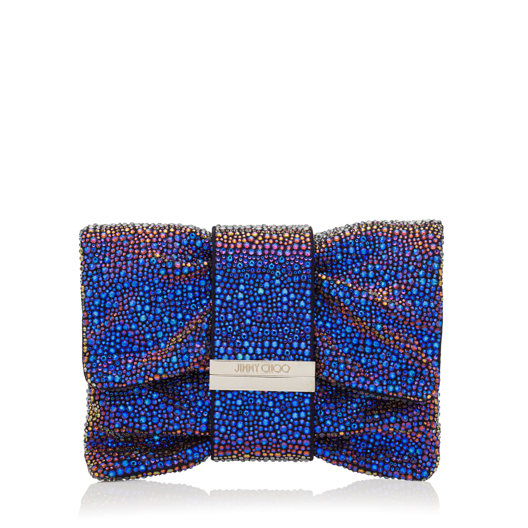 CHANDRA/S Madeline Mix Holographic Multi Crystals Clutch Bag with Multi Hotfix Bracelet