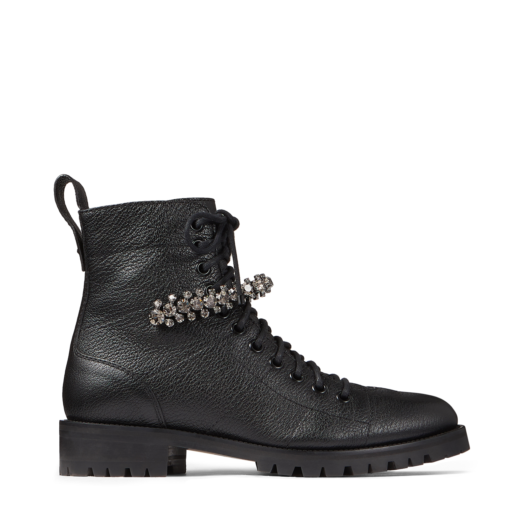 CRUZ FLAT Black Grainy Leather Combat Boots with Crystal Detailing