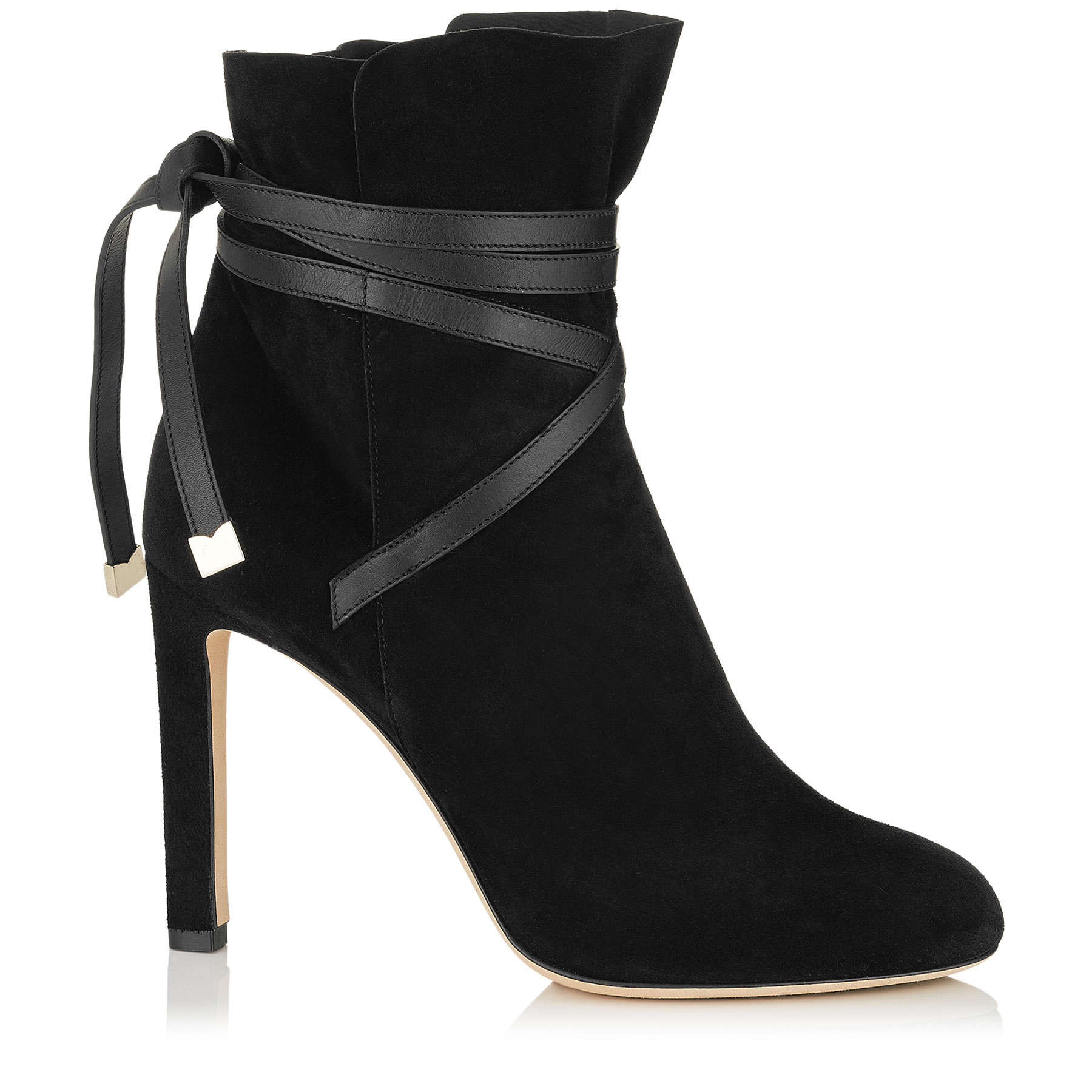 DALAL 100 Black Cashmere Suede Ankle Booties with Leather Strap Detail