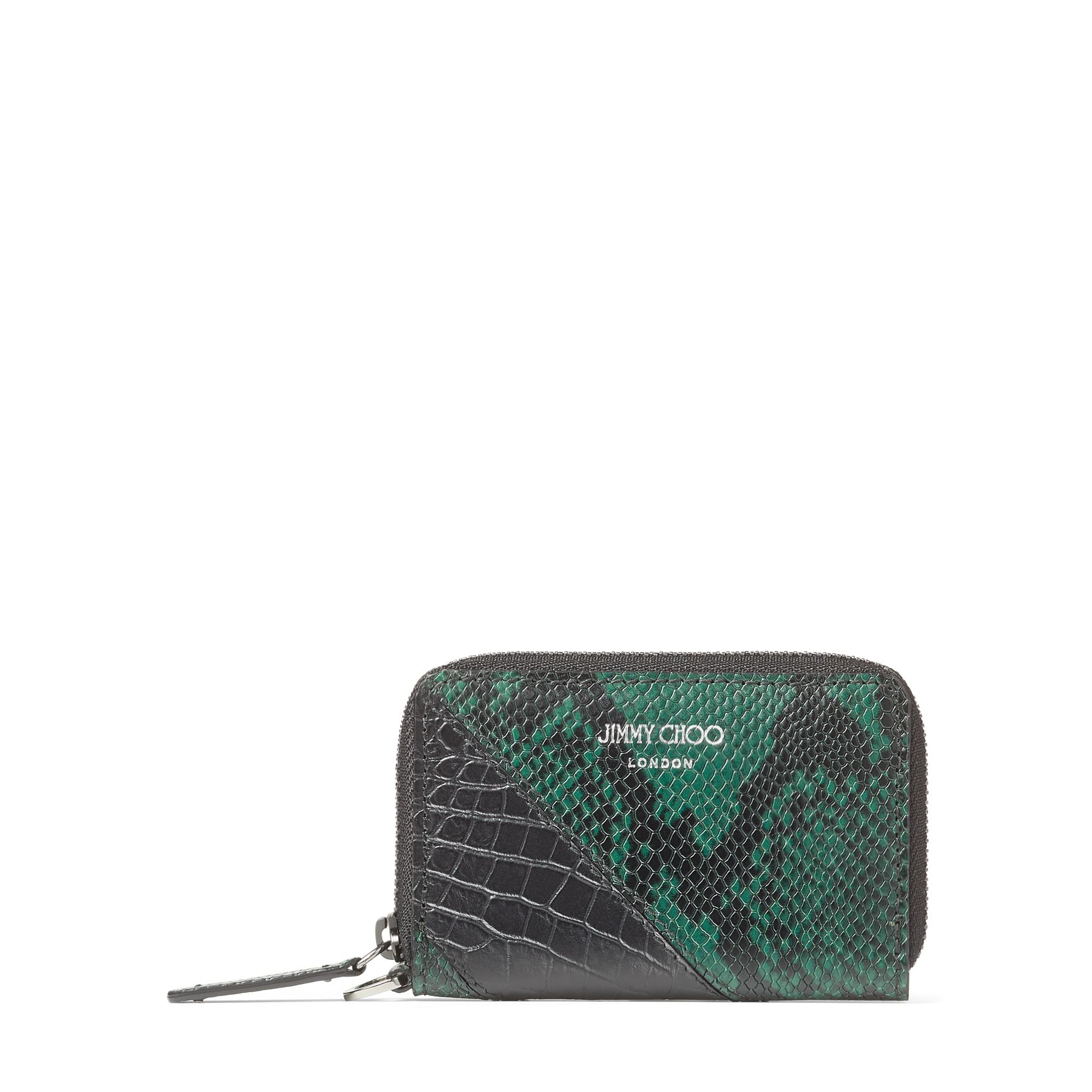 DANNY is a compact coin case made of black croc-embossed leather combined with pine printed python. Ideal for daily use, DANNY is a safe and functional design that can hold cards in addition to coins.