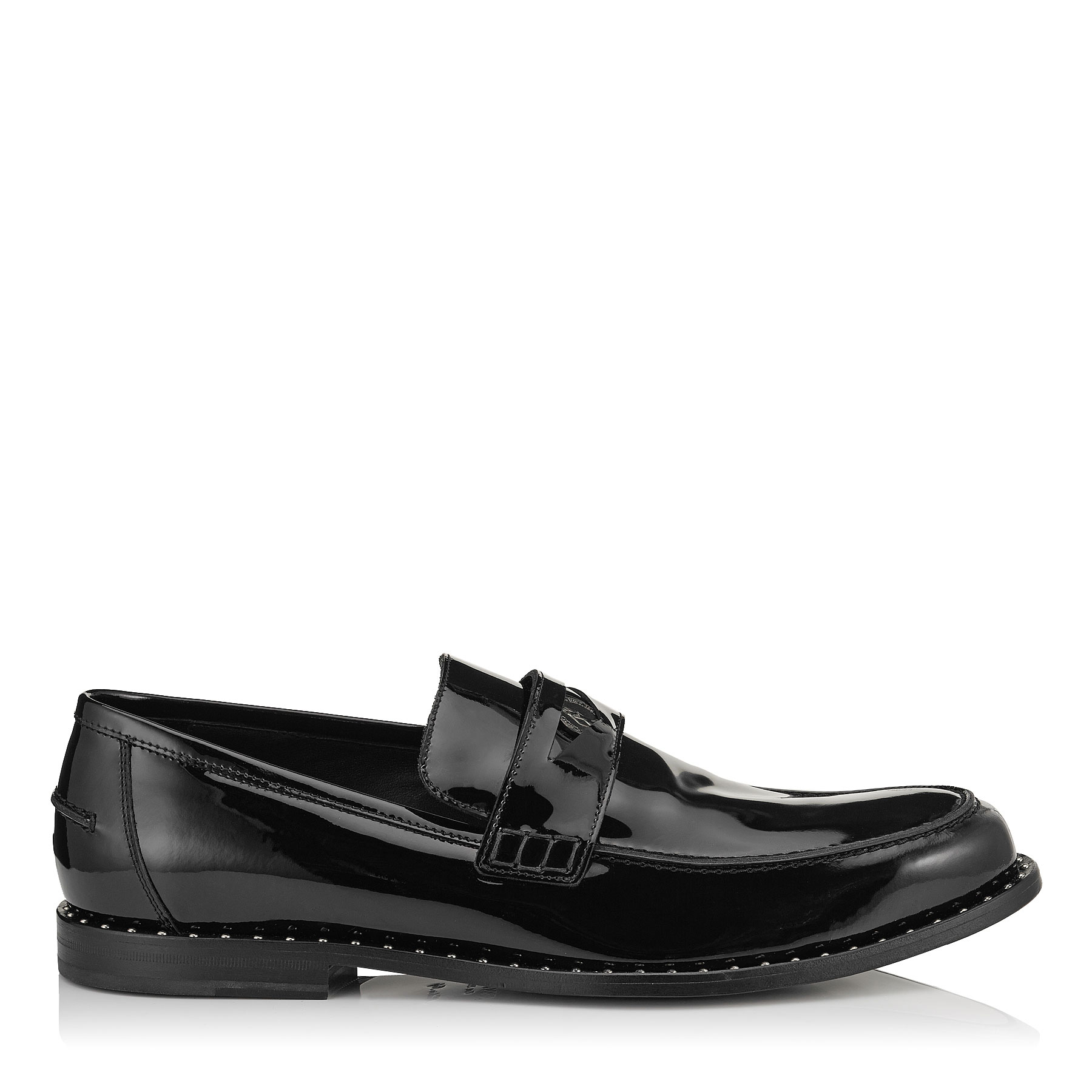 DARBLAY Black Patent Penny Loafers with Steel Studs Detail
