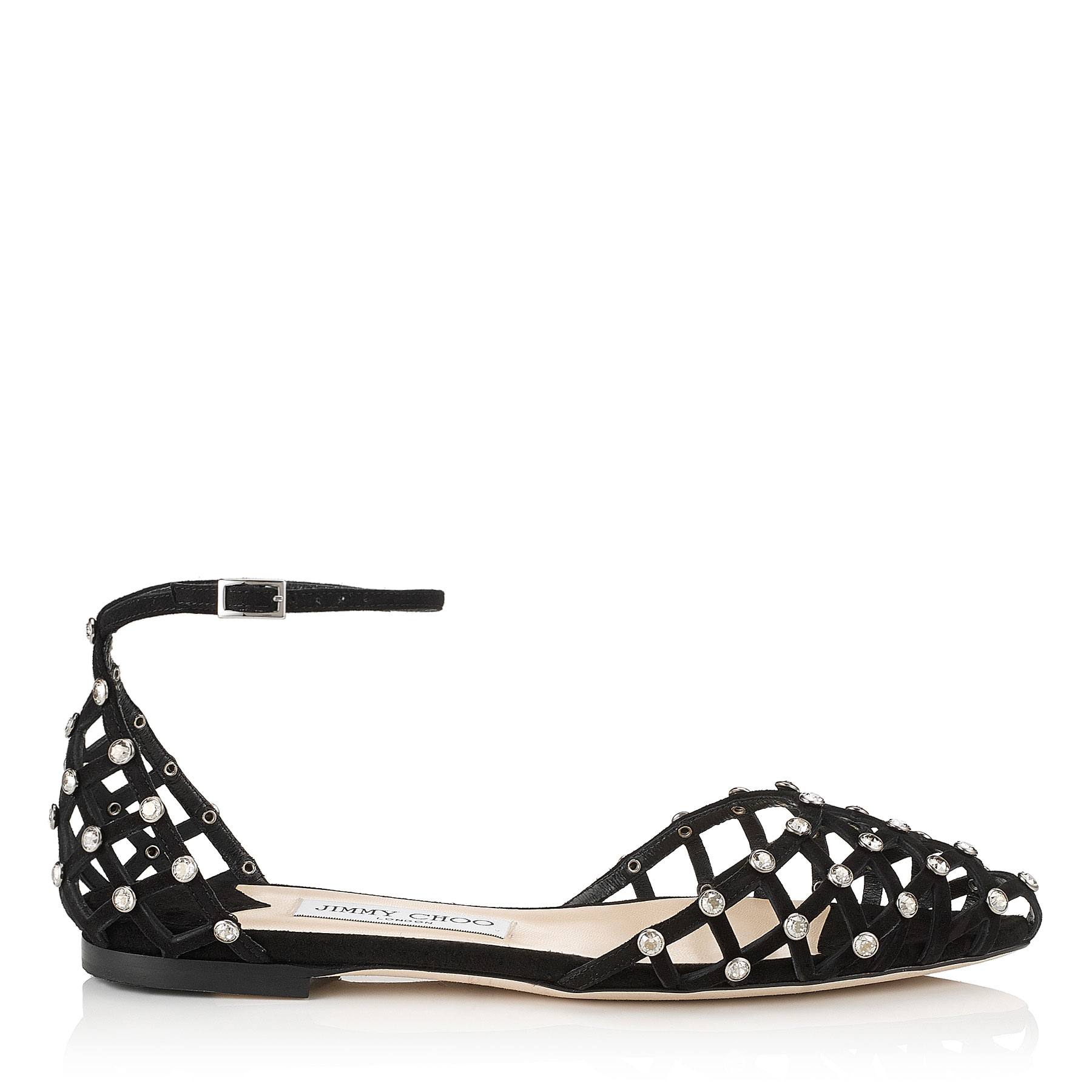 DAVINIA FLAT Black Suede Pointy Toe Shoe Sandals with Crystal Studs