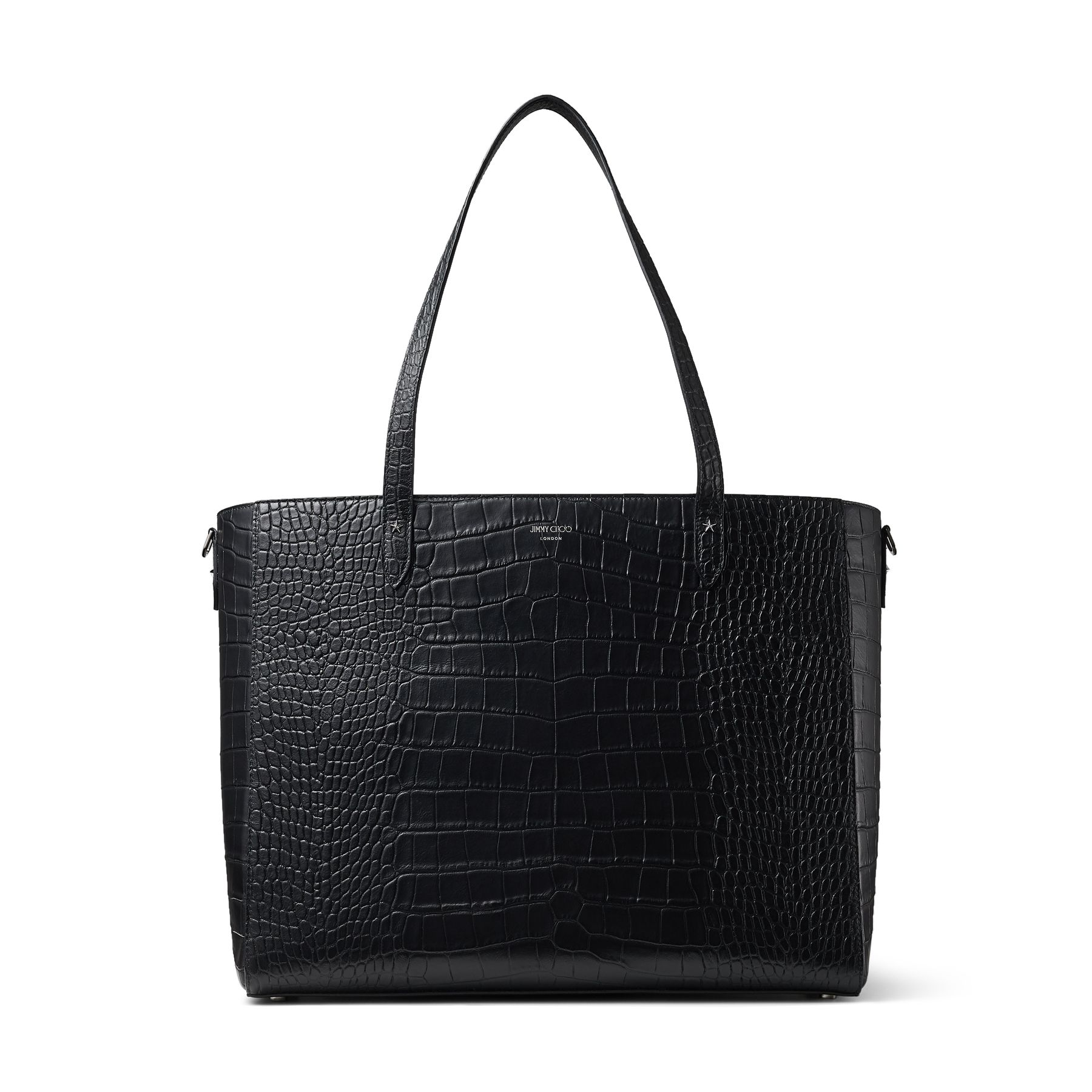 Our DEELAN in black croc-embossed leather is the perfect tote bag for town use. Finished with gunmetal star detailing and slim straps, it features a large interior compartment with fasteners and side pockets to allow you to safely carry your essentials.