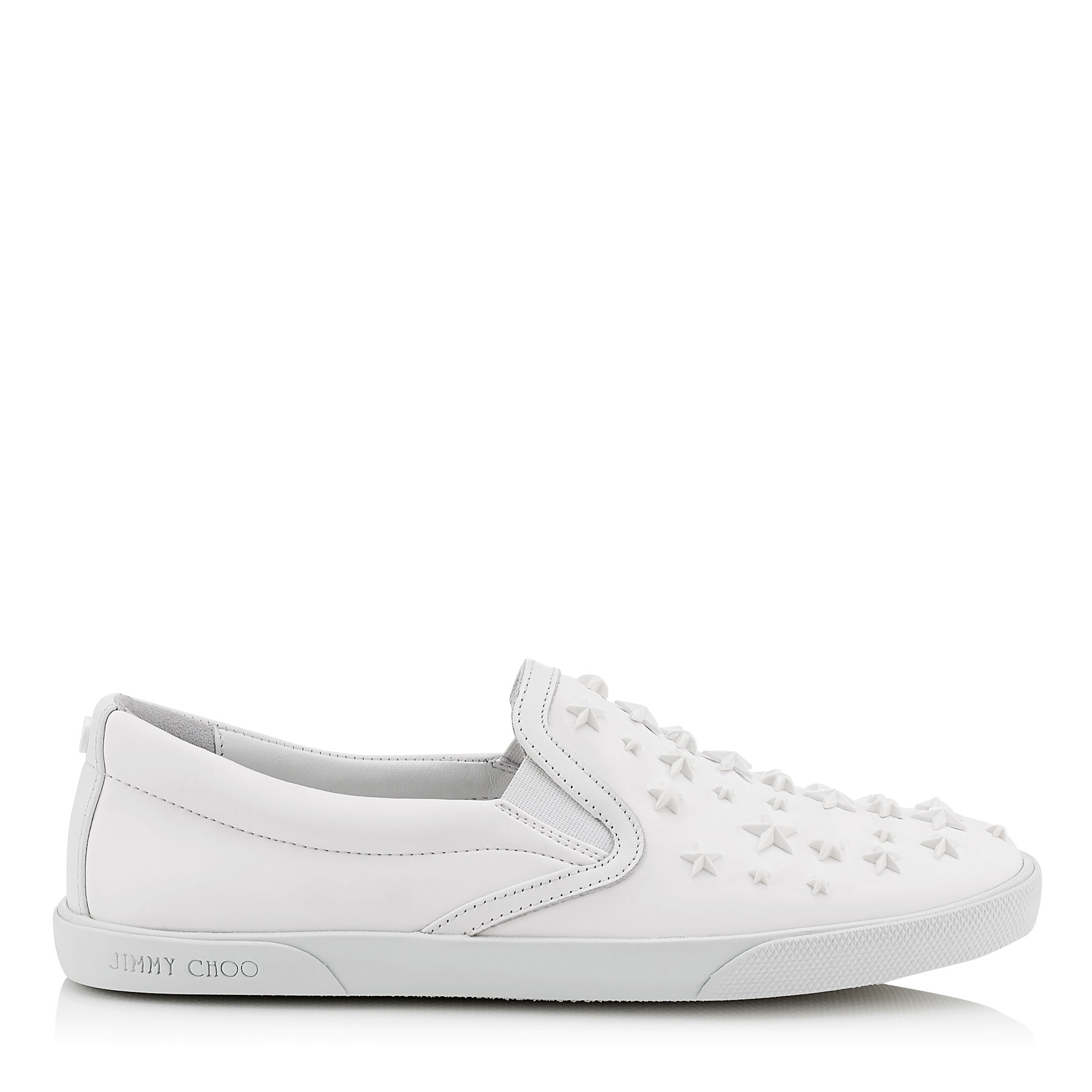 DEMI White Rubberized Leather with Stars Slip On Trainers