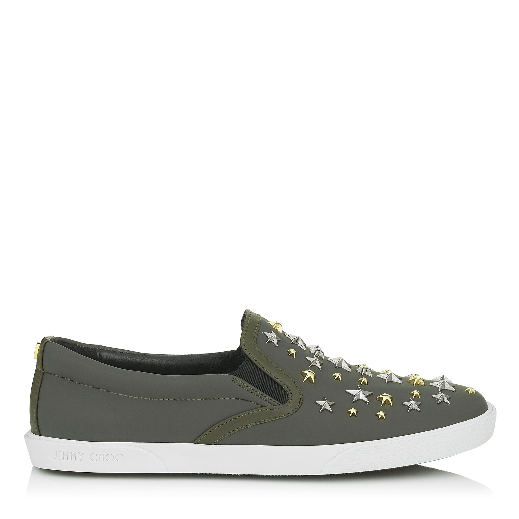 DEMI Army Green Metallic Mix Rubberized Leather with Stars Slip On Trainers