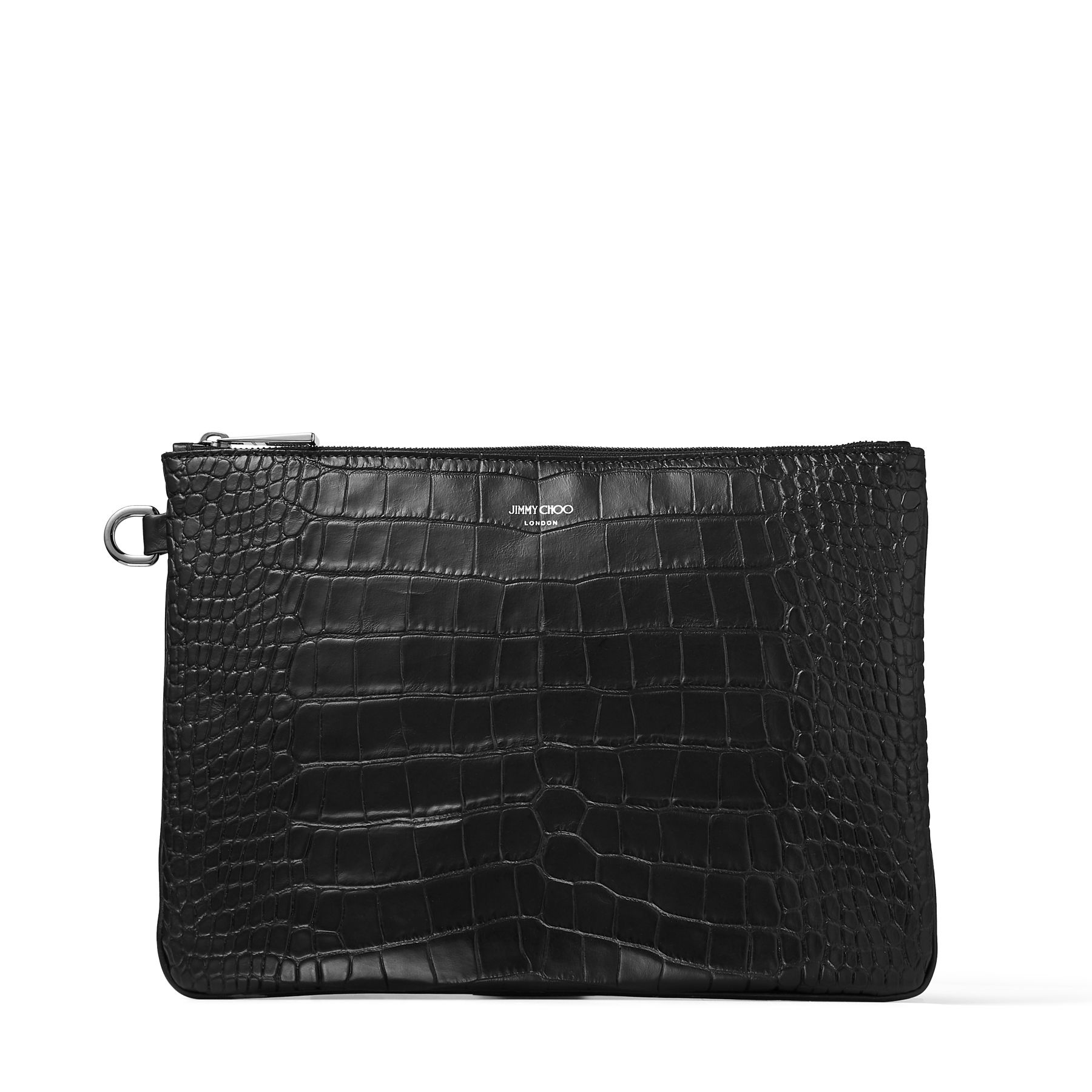 Understated sophistication is reflected in our DEREK clutch bag. Crafted from black croc embossed leather, it is ideal for organising daily documents, while also featuring enough space to store tablets and laptops.