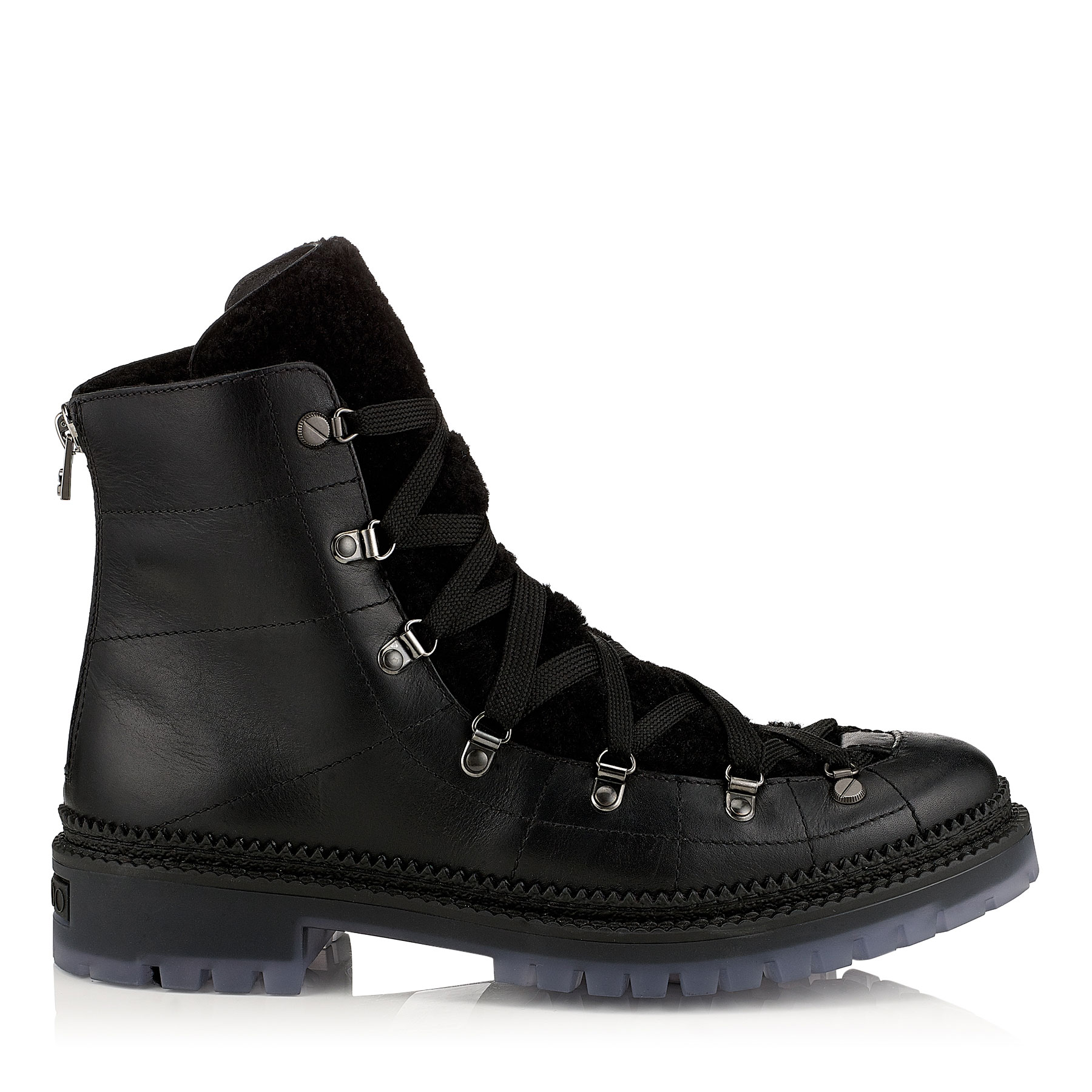 DIMITRI Black Leather and Shearling Boots