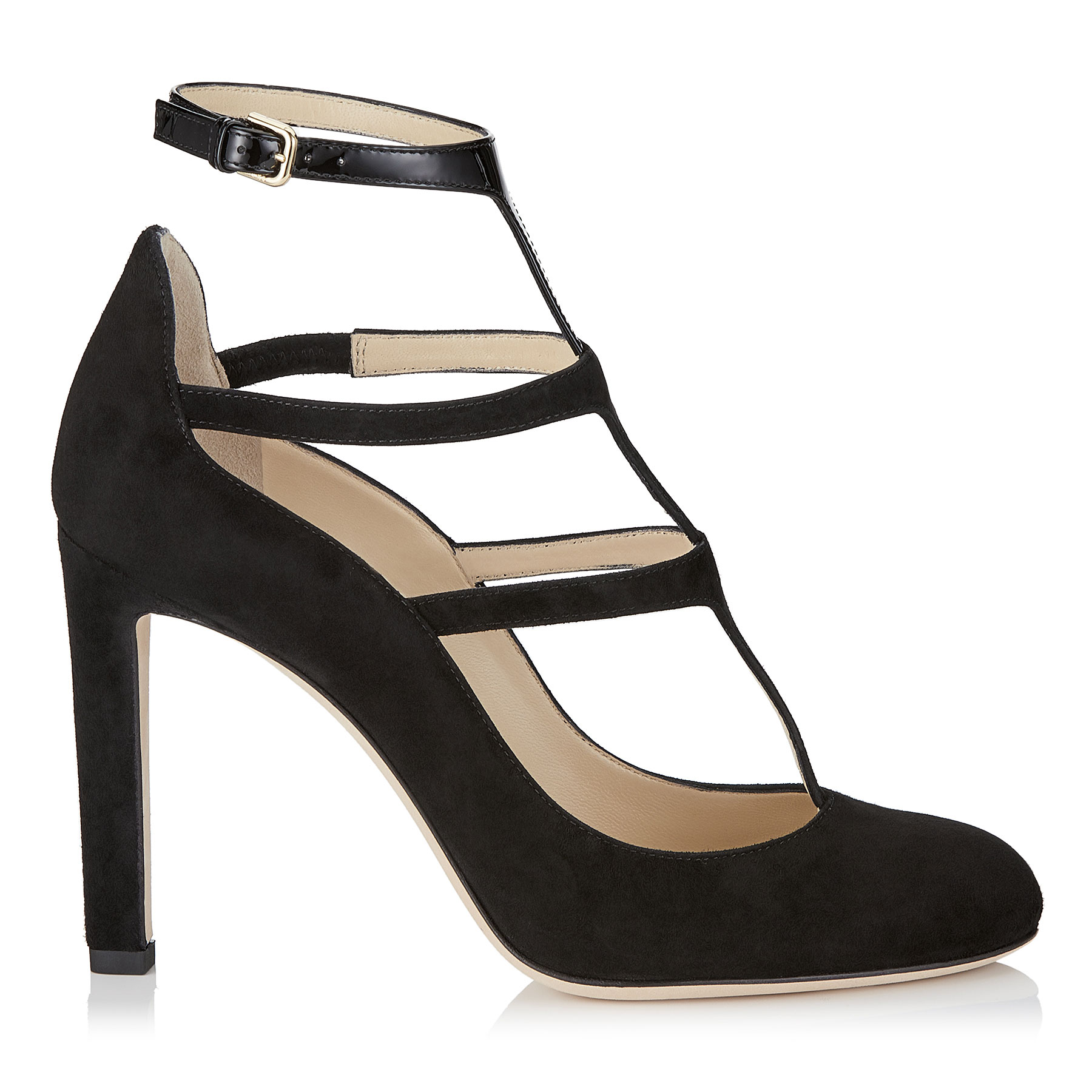 DOLL 100 Black Suede and Patent Caged Round Toe Pumps