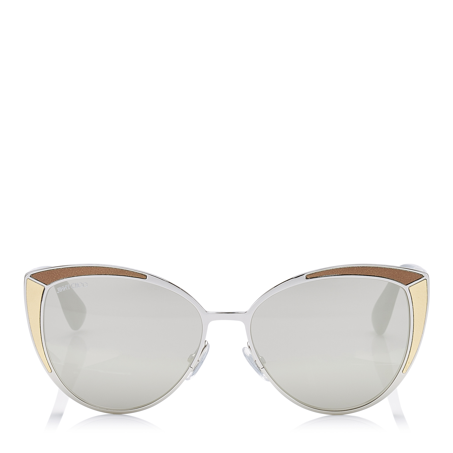 DOMI/S Metal Framed Cat Eye Sunglasses with Snakeskin Leather Detail