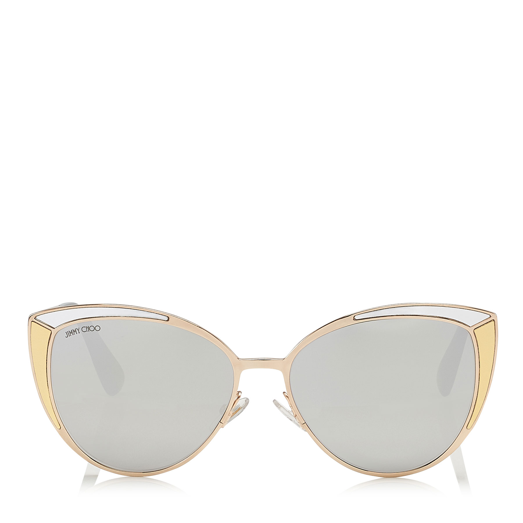 DOMI Metal Framed Cat Eye Sunglasses with Silver and Gold Leather Detail