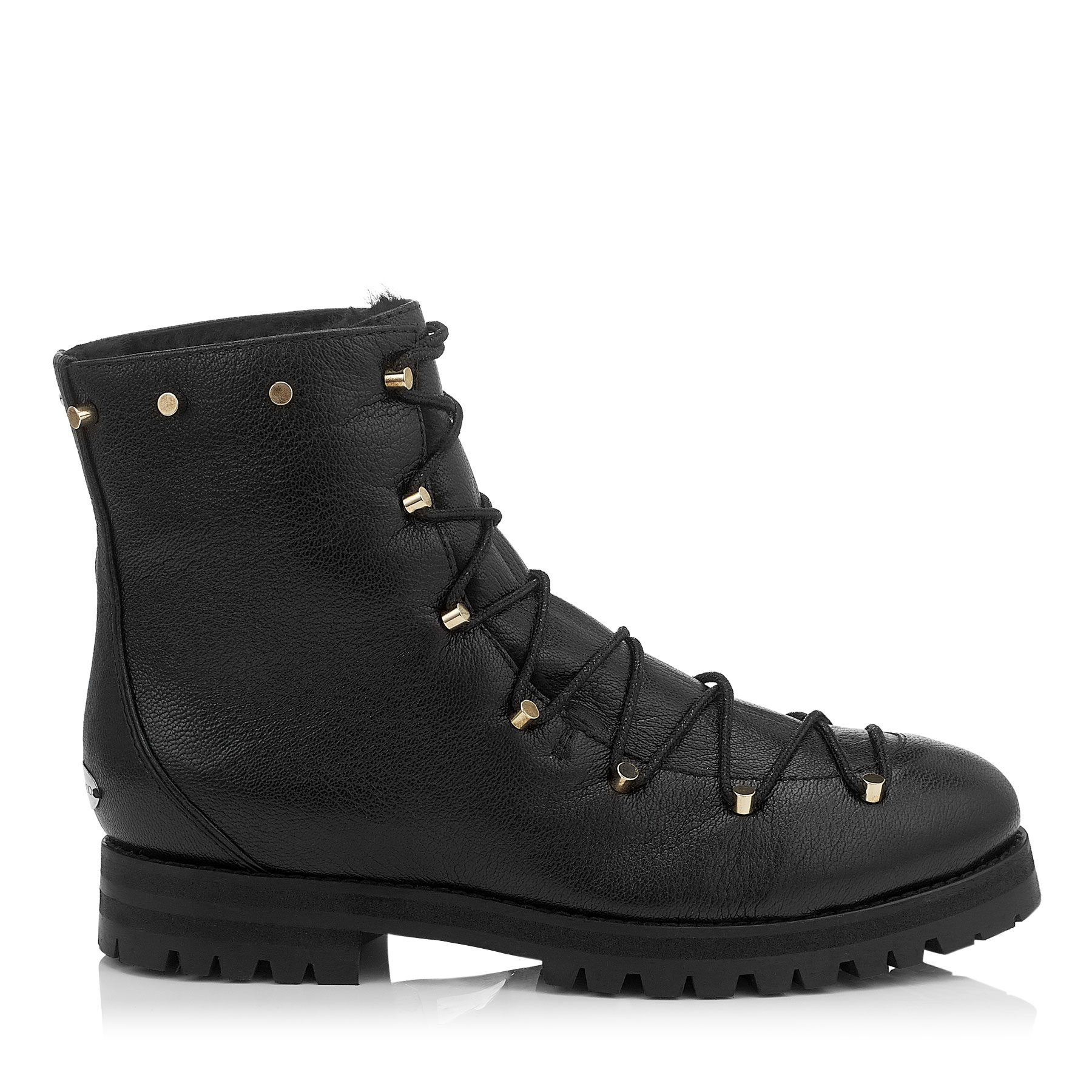 DRAKE FLAT Black Grainy Leather Combat Boots with Shearling Lining