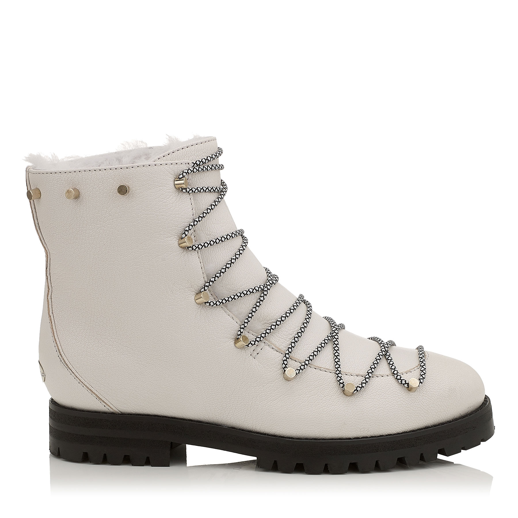 DRAKE FLAT White Grainy Leather Combat Boots with Shearling Lining