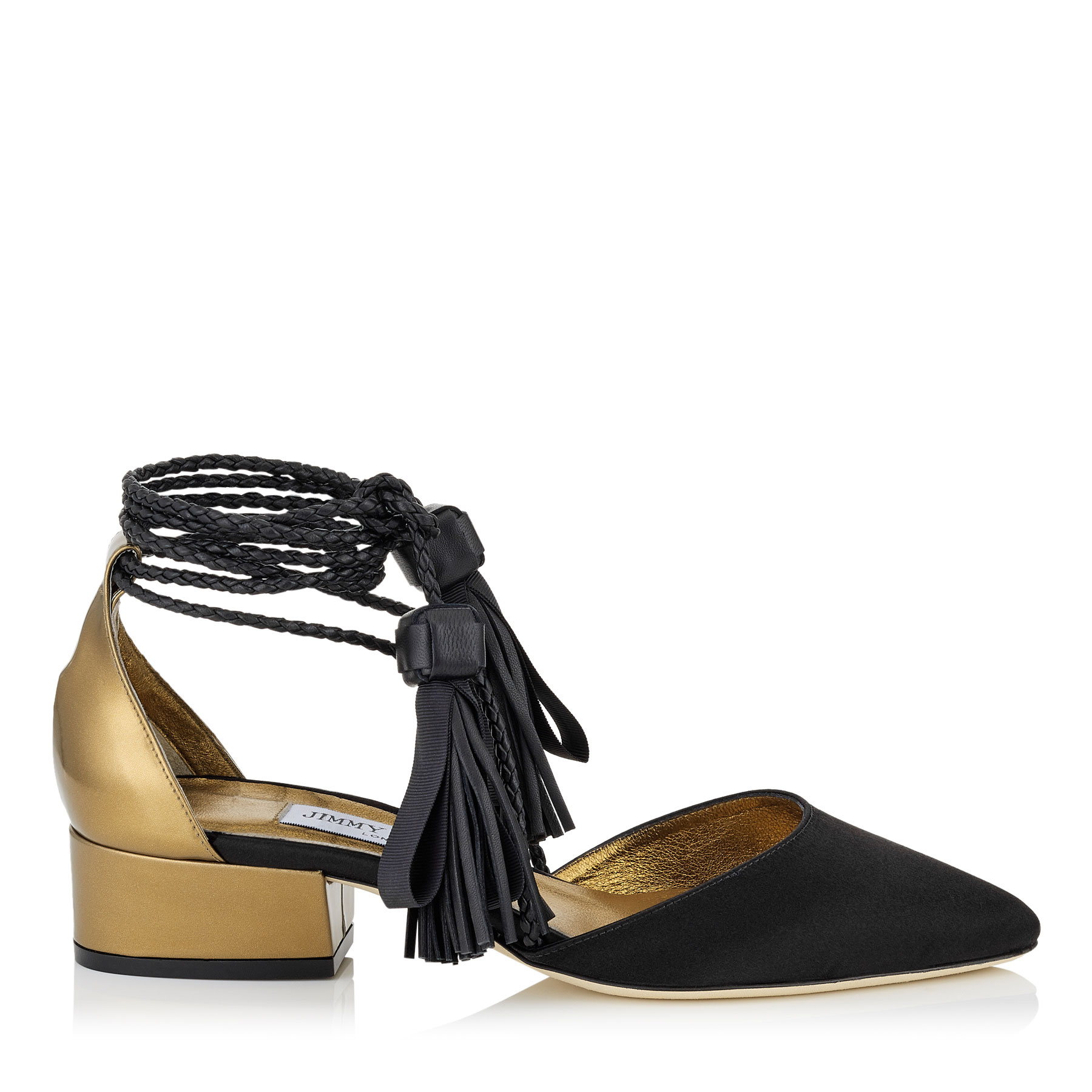 DUCHESS 30 Black Satin and Honey Gold Mirror Leather Pumps