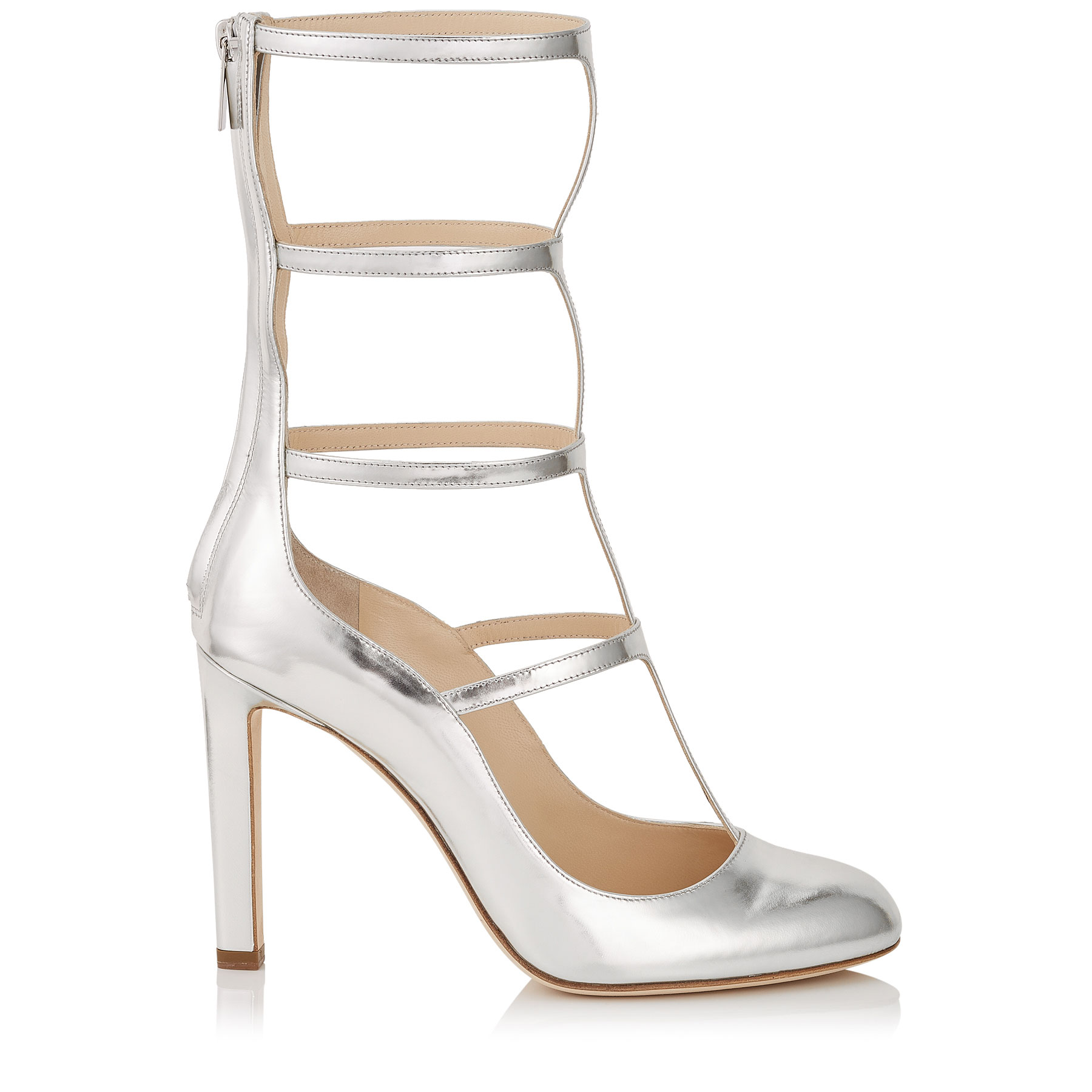 DUNDEE 100 Silver Mirror Leather Caged Round Toe Pumps