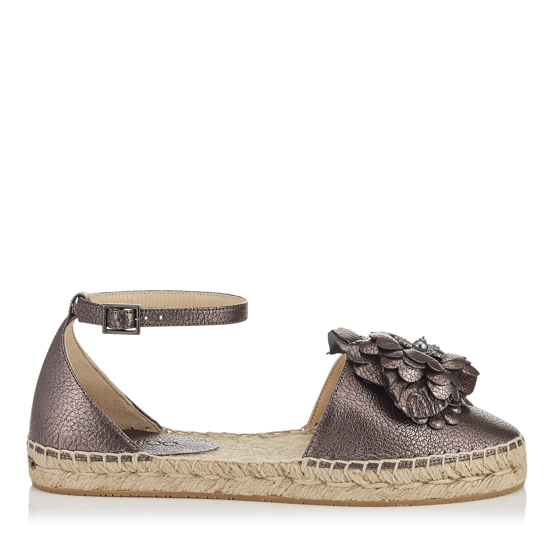 DYLAN FLAT Light Mocha Metallic Softened Leather Espadrilles with Floral Applique