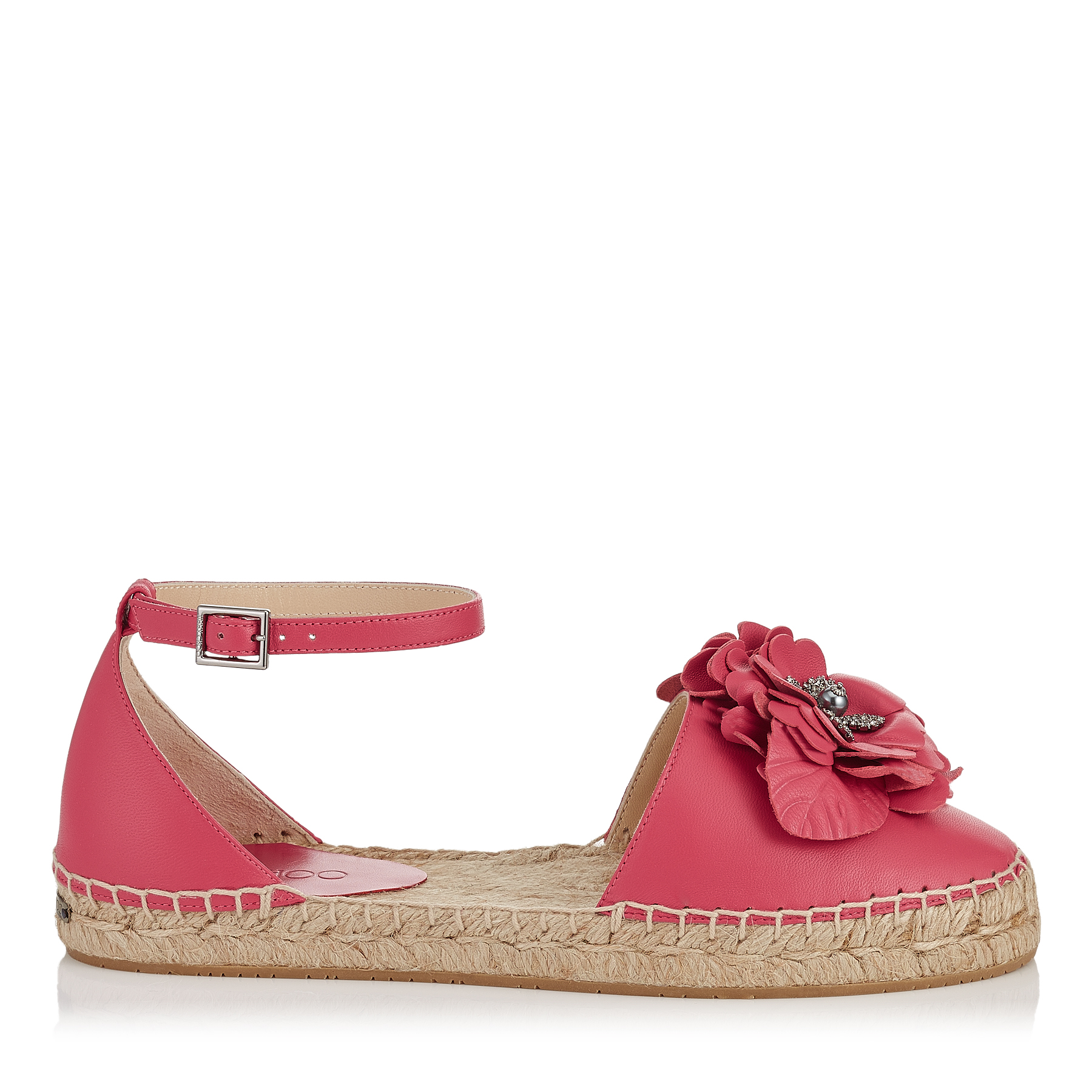 DYLAN FLAT Dahlia Pink Nappa Leather Espadrilles with Floral Applique