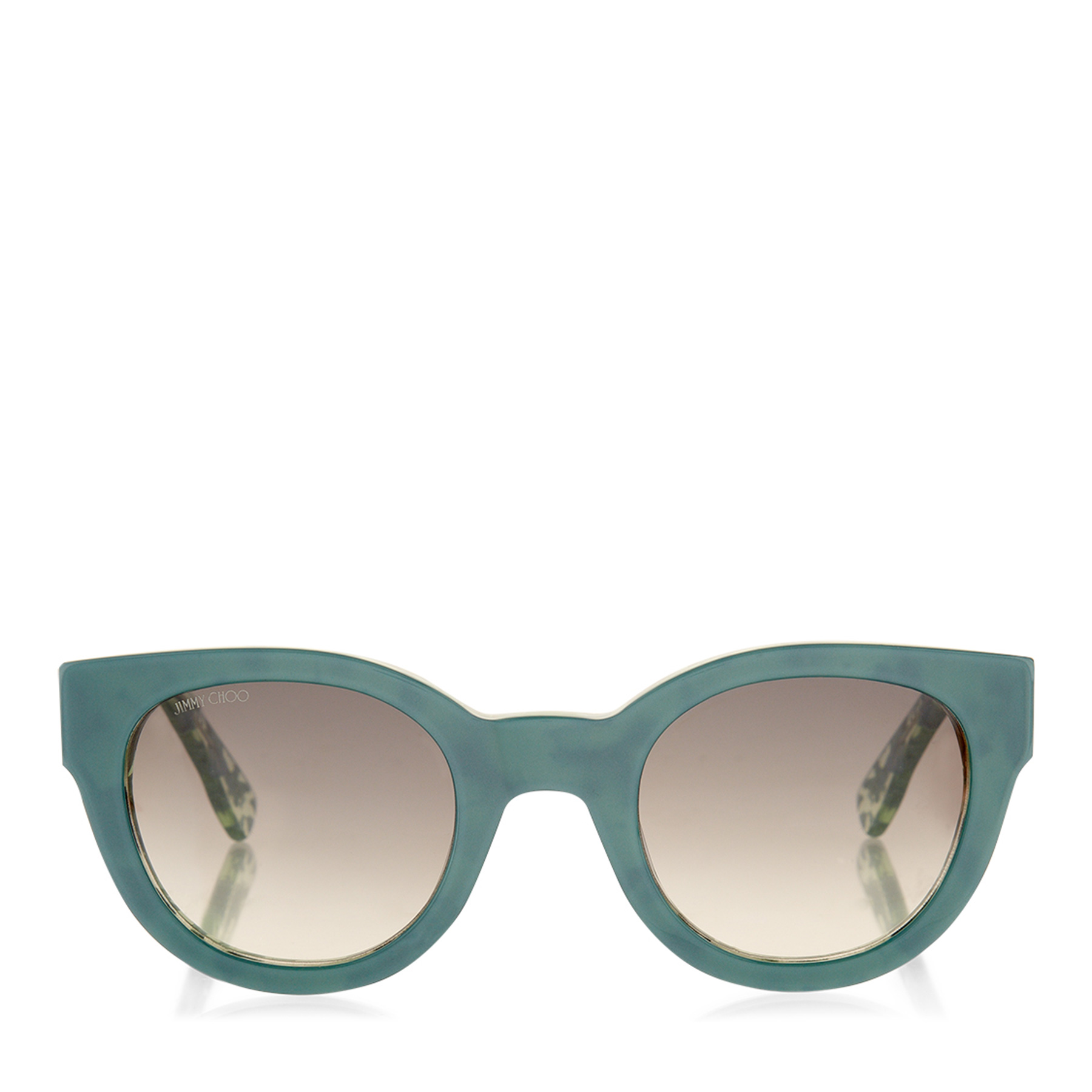 EDA/S Green Acetate Round Frame Sunglasses with Leaf Effect