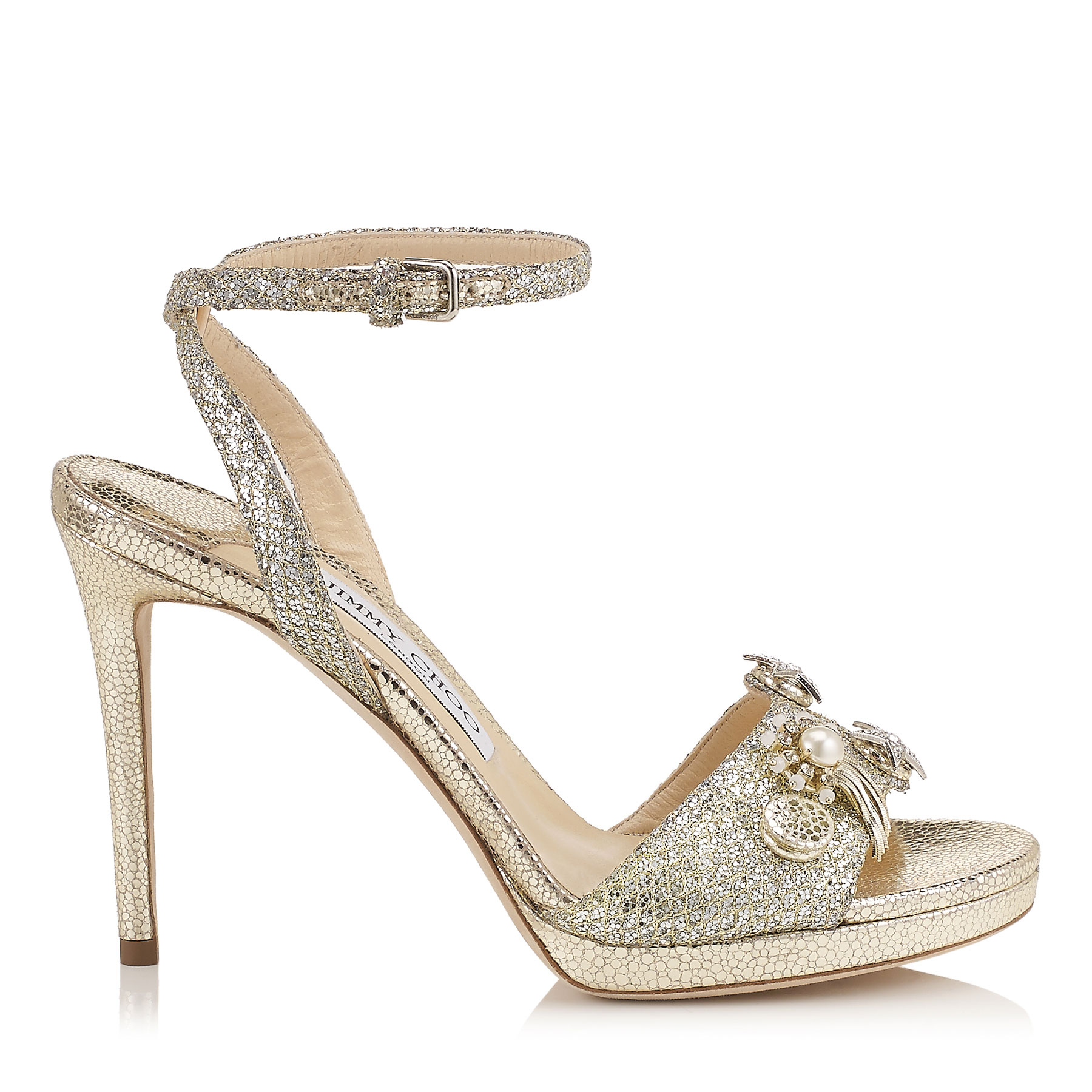 ELECTRA 100 Champagne Glitter Fabric Sandals with Jewelled Buttons